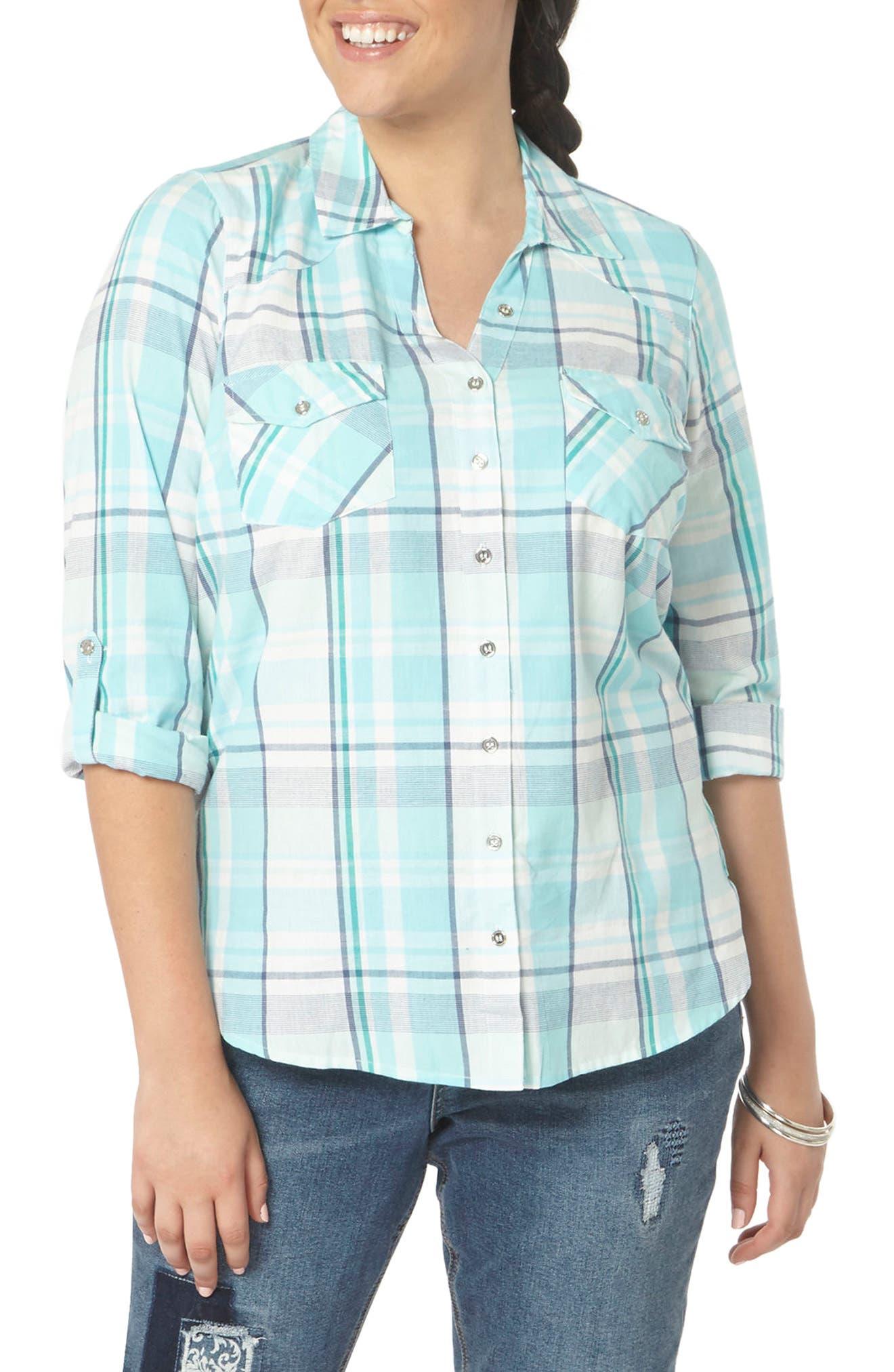 Evans Roll Sleeve Check Plaid Shirt (Plus Size)
