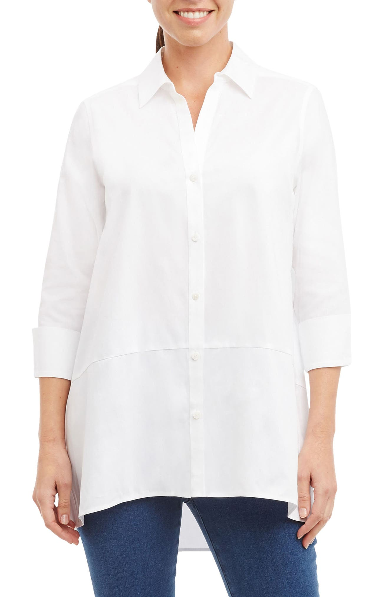 Daniela Non-Iron Tunic Shirt,                             Main thumbnail 1, color,                             White