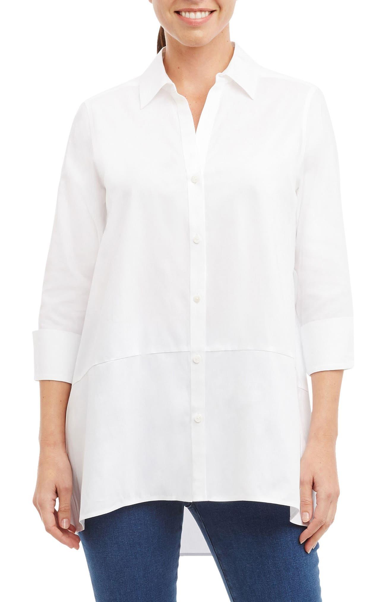 Daniela Non-Iron Tunic Shirt,                         Main,                         color, White