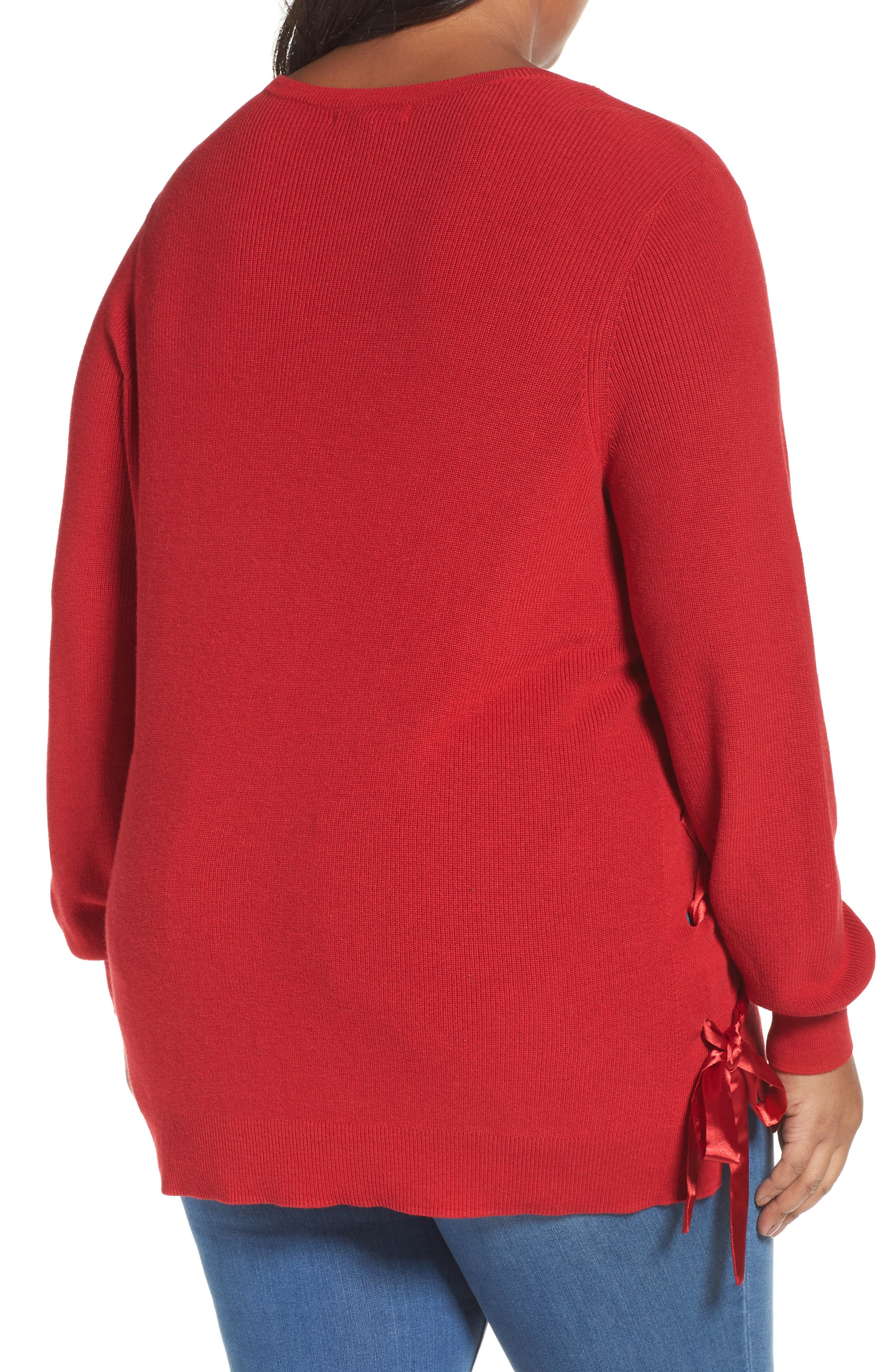 Lace-Up Pullover,                             Alternate thumbnail 2, color,                             Red Sage