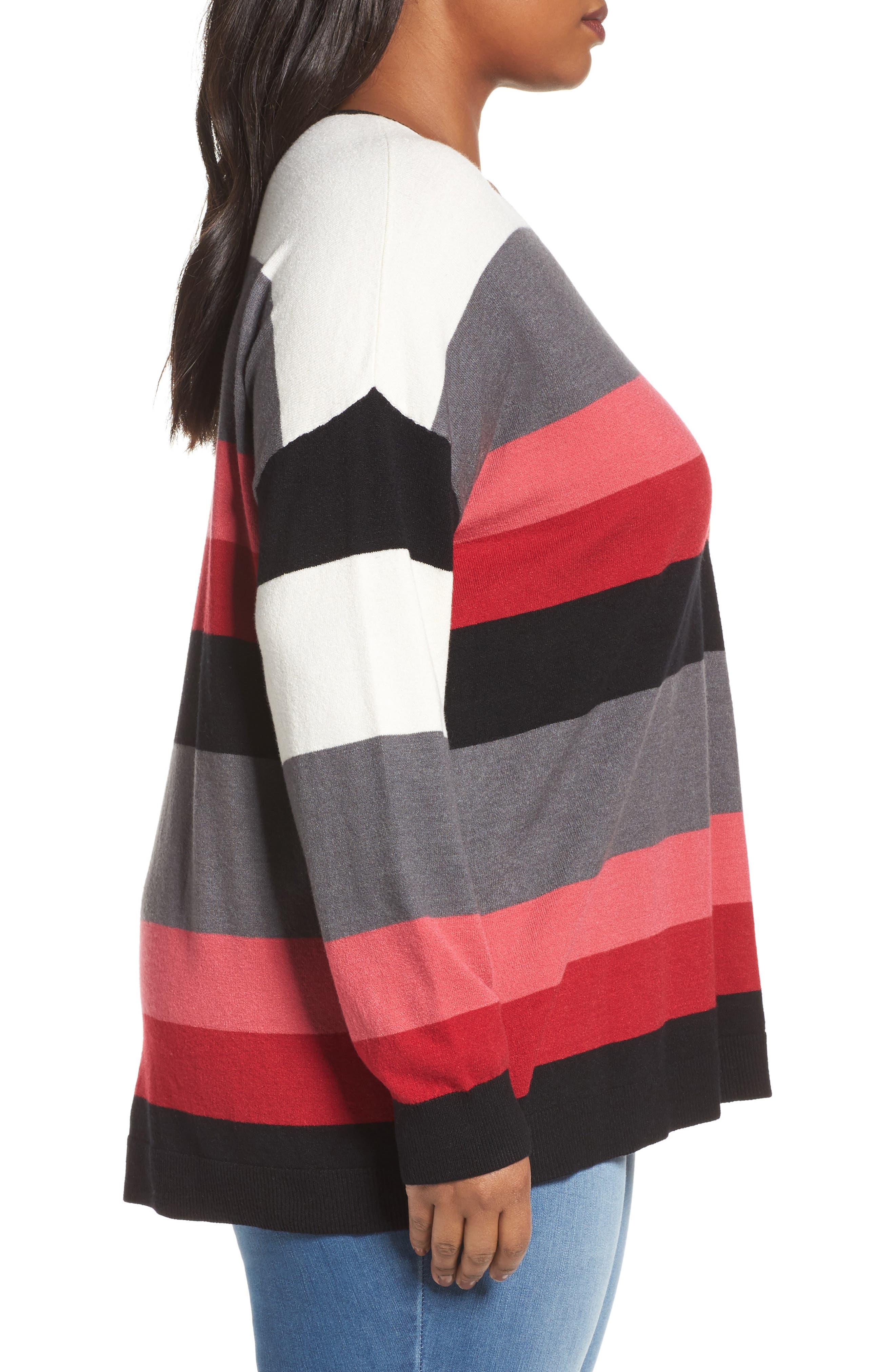 V-Neck Drop Shoulder Pullover,                             Alternate thumbnail 3, color,                             Red Multi Pop Stripe