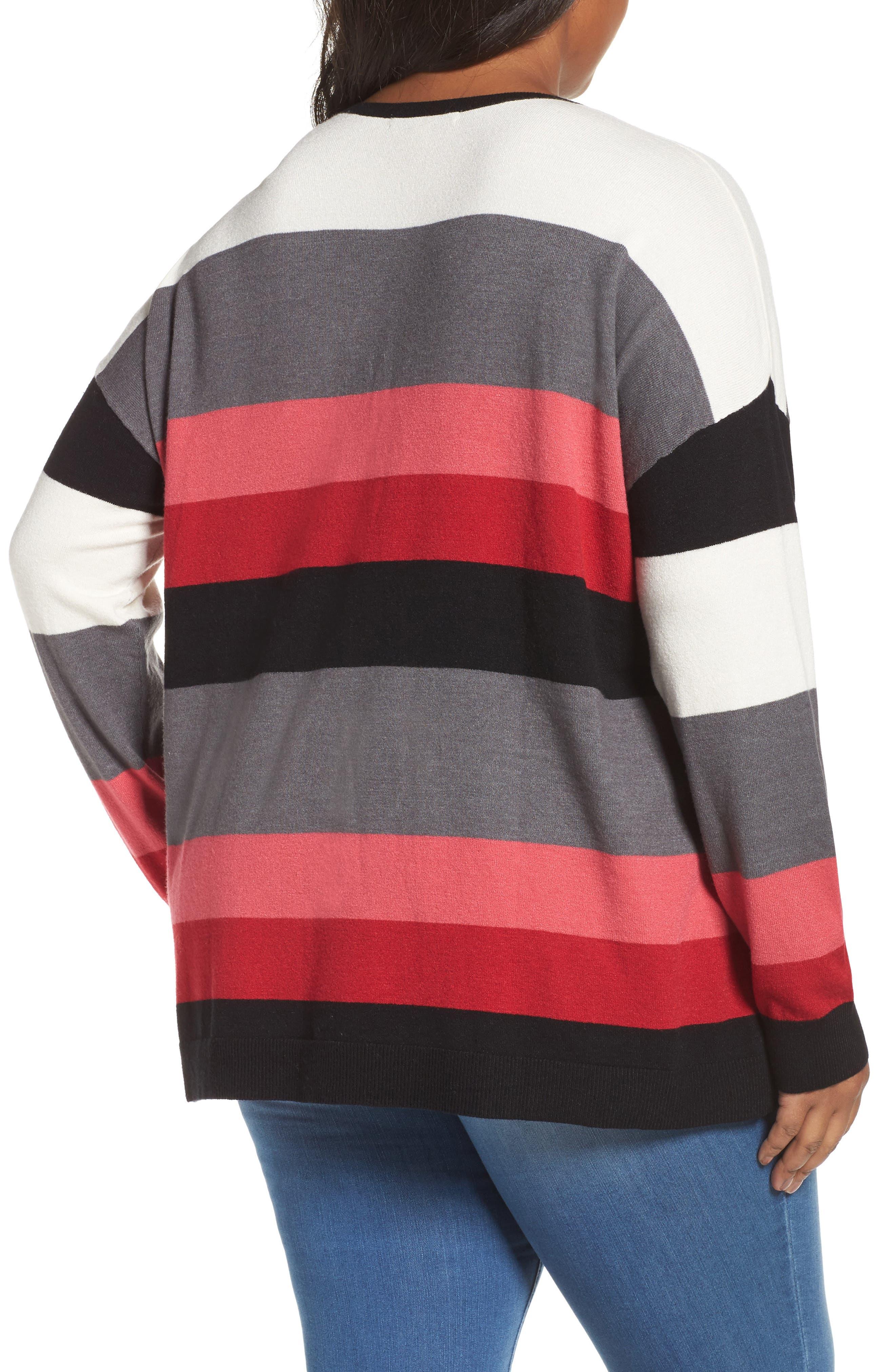 V-Neck Drop Shoulder Pullover,                             Alternate thumbnail 2, color,                             Red Multi Pop Stripe