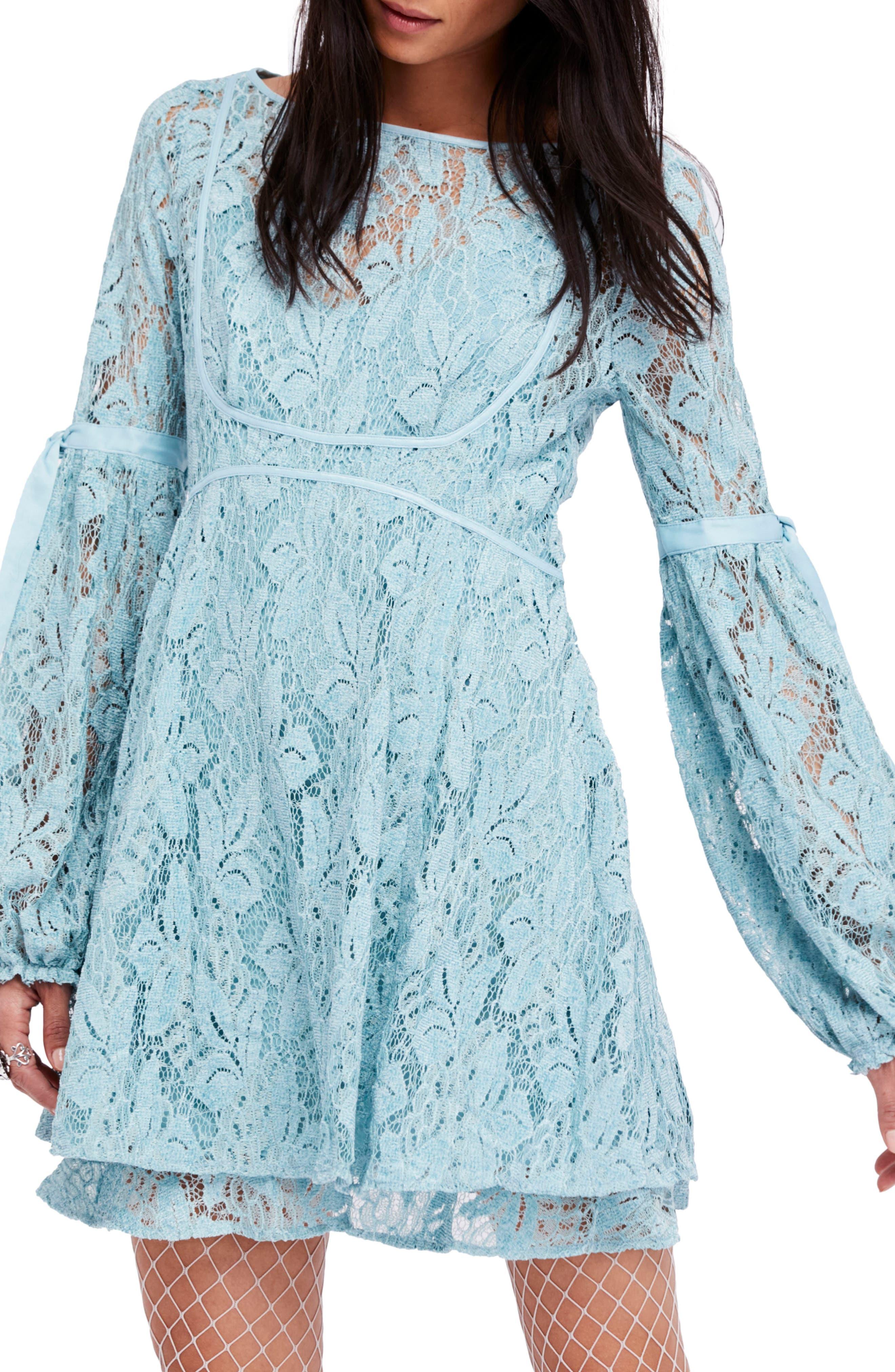 Rubi Lace Mini Dress,                         Main,                         color, Blue
