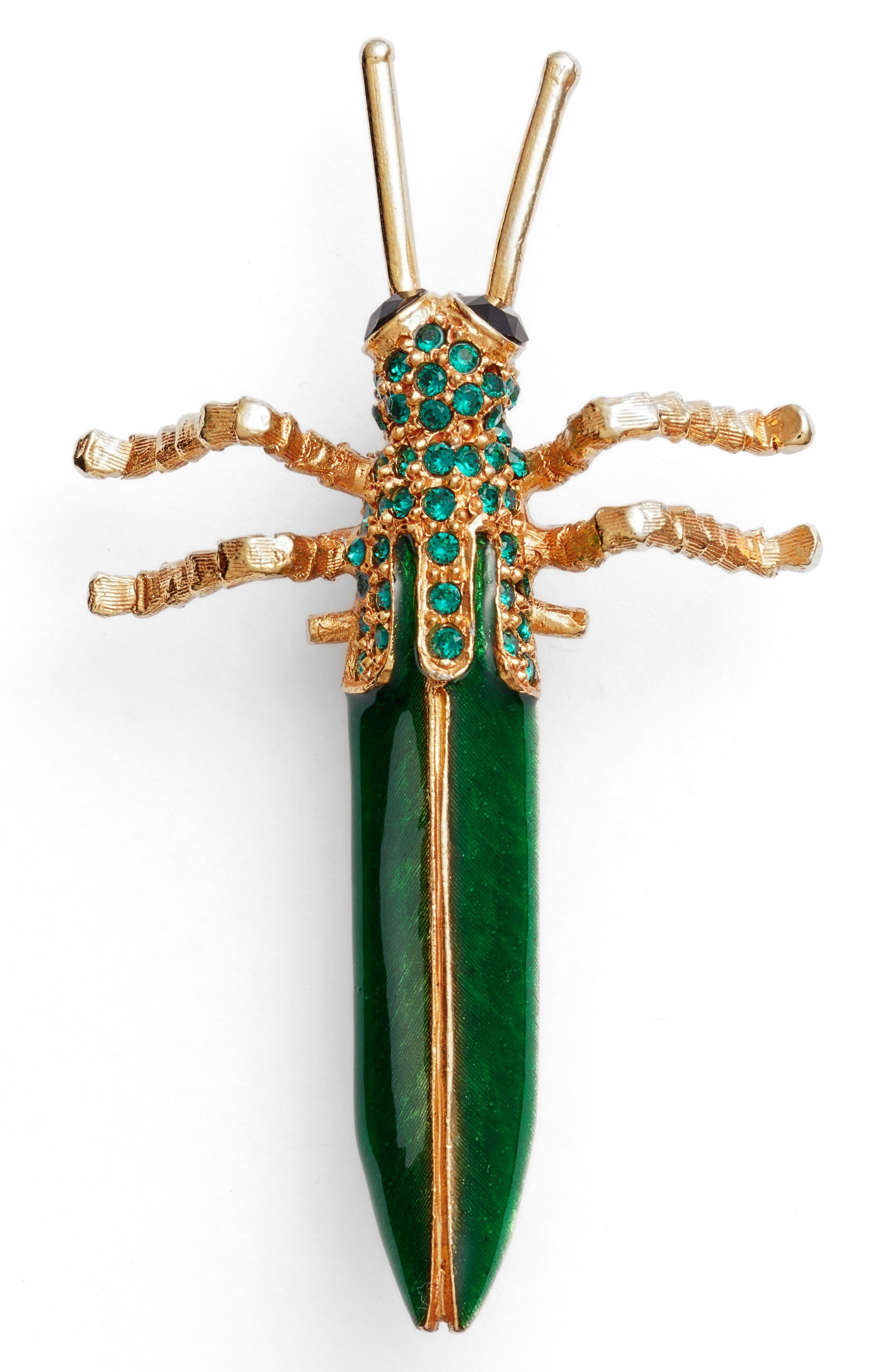 Oscar de la Renta Grasshopper Brooch