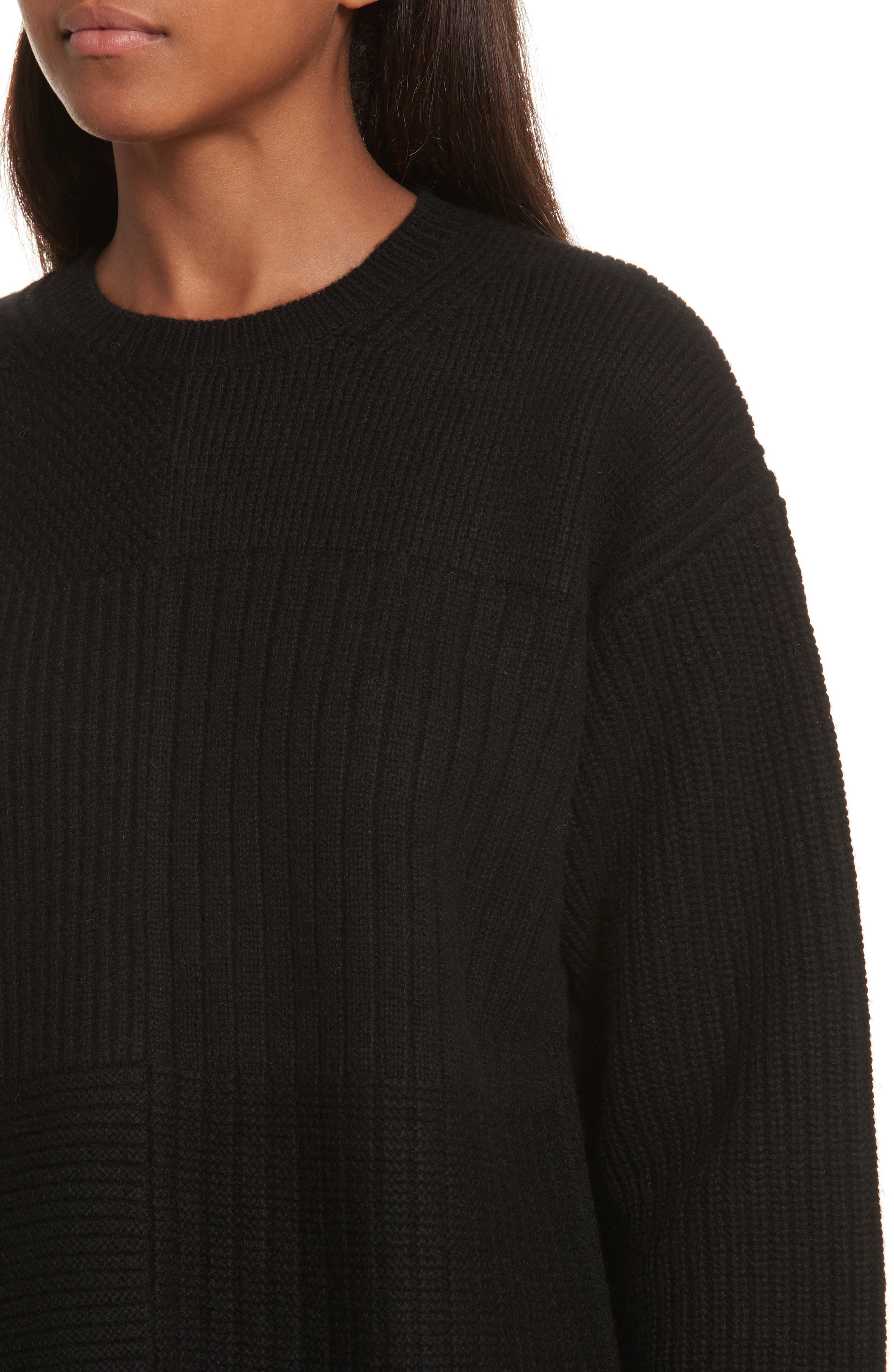 Wool Blend Textured Pullover,                             Alternate thumbnail 4, color,                             Black