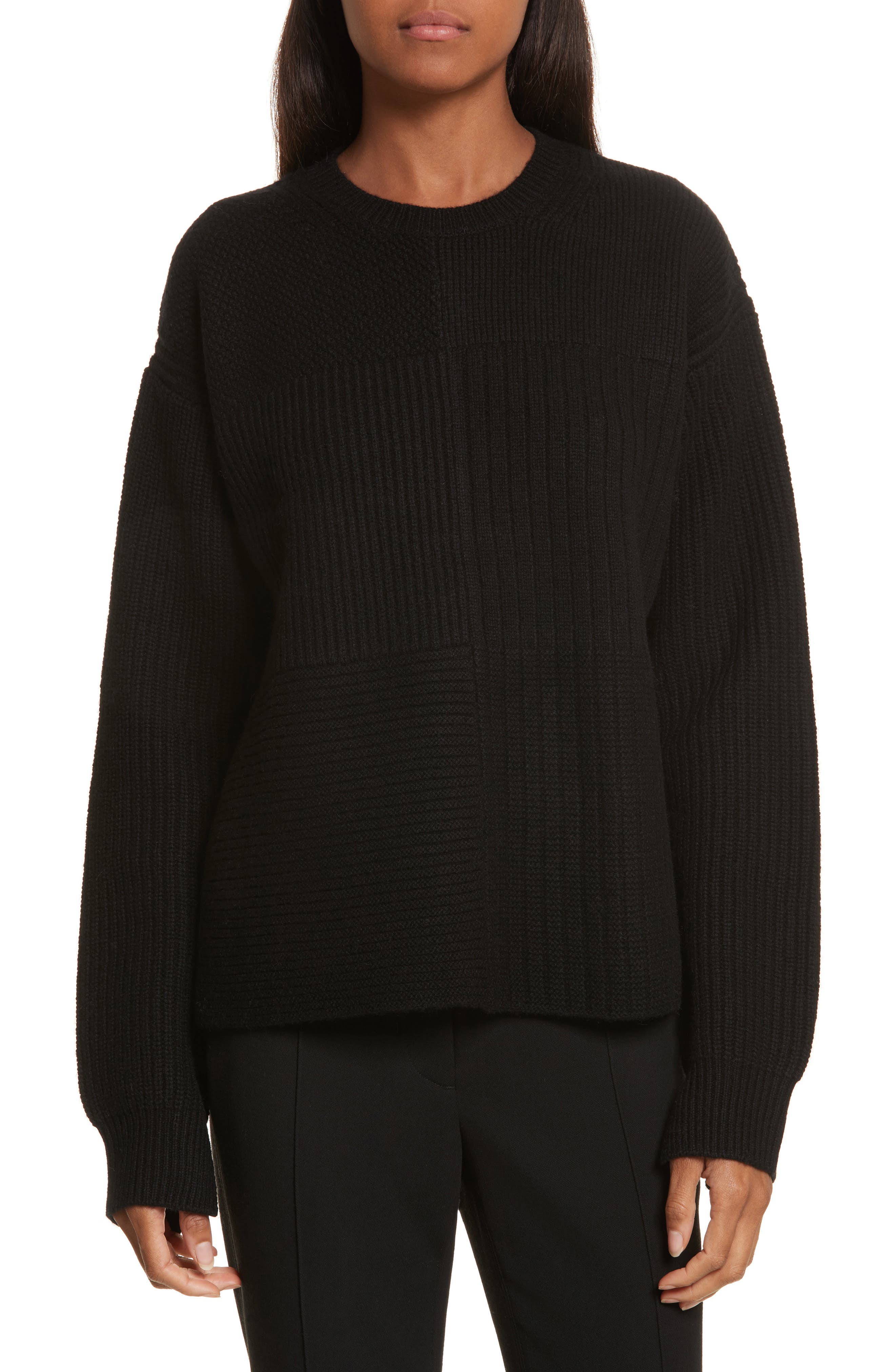 Wool Blend Textured Pullover,                         Main,                         color, Black