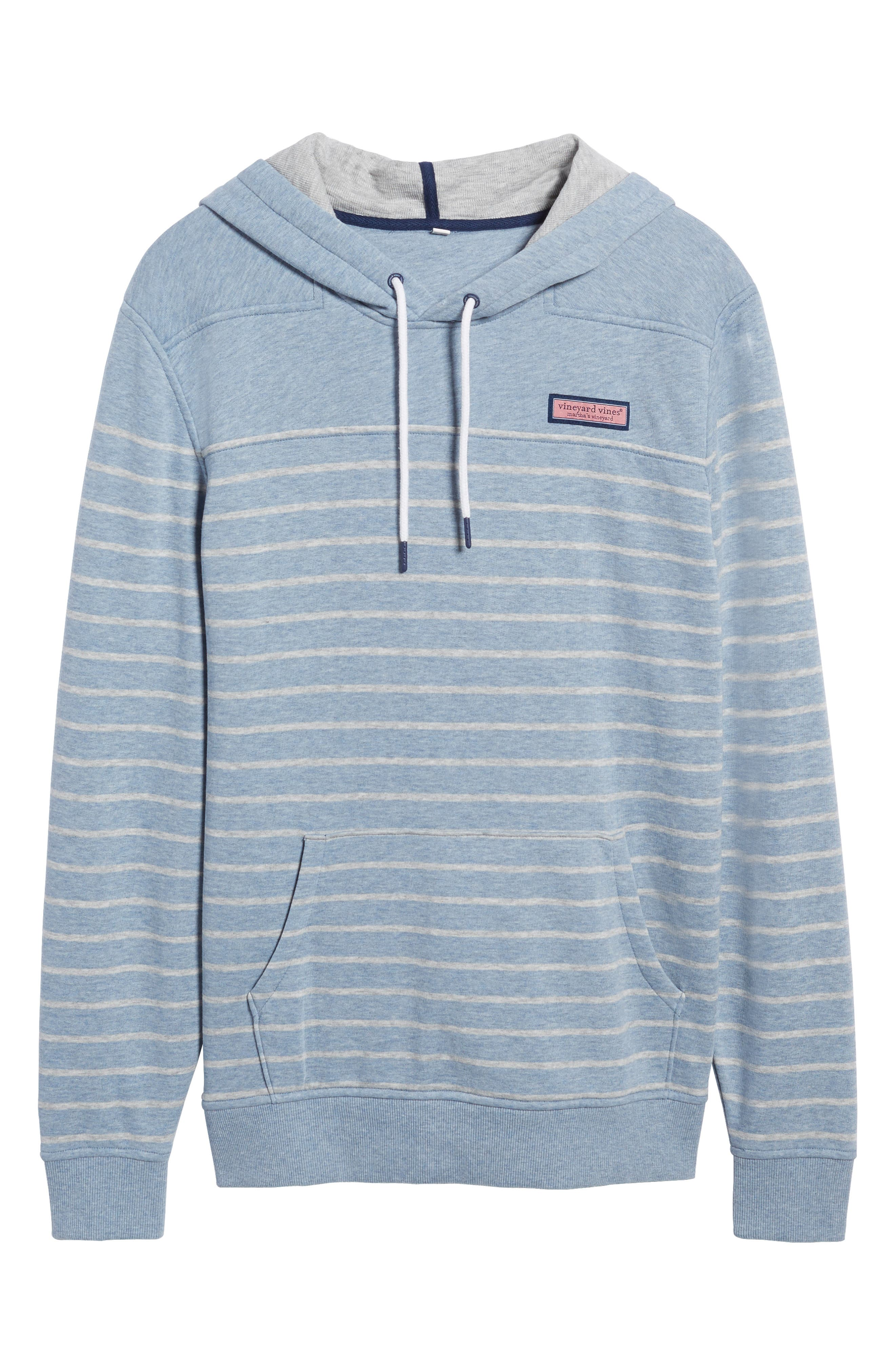 Stripe Washed Cotton Pullover Hoodie,                             Alternate thumbnail 6, color,                             Summer Evening