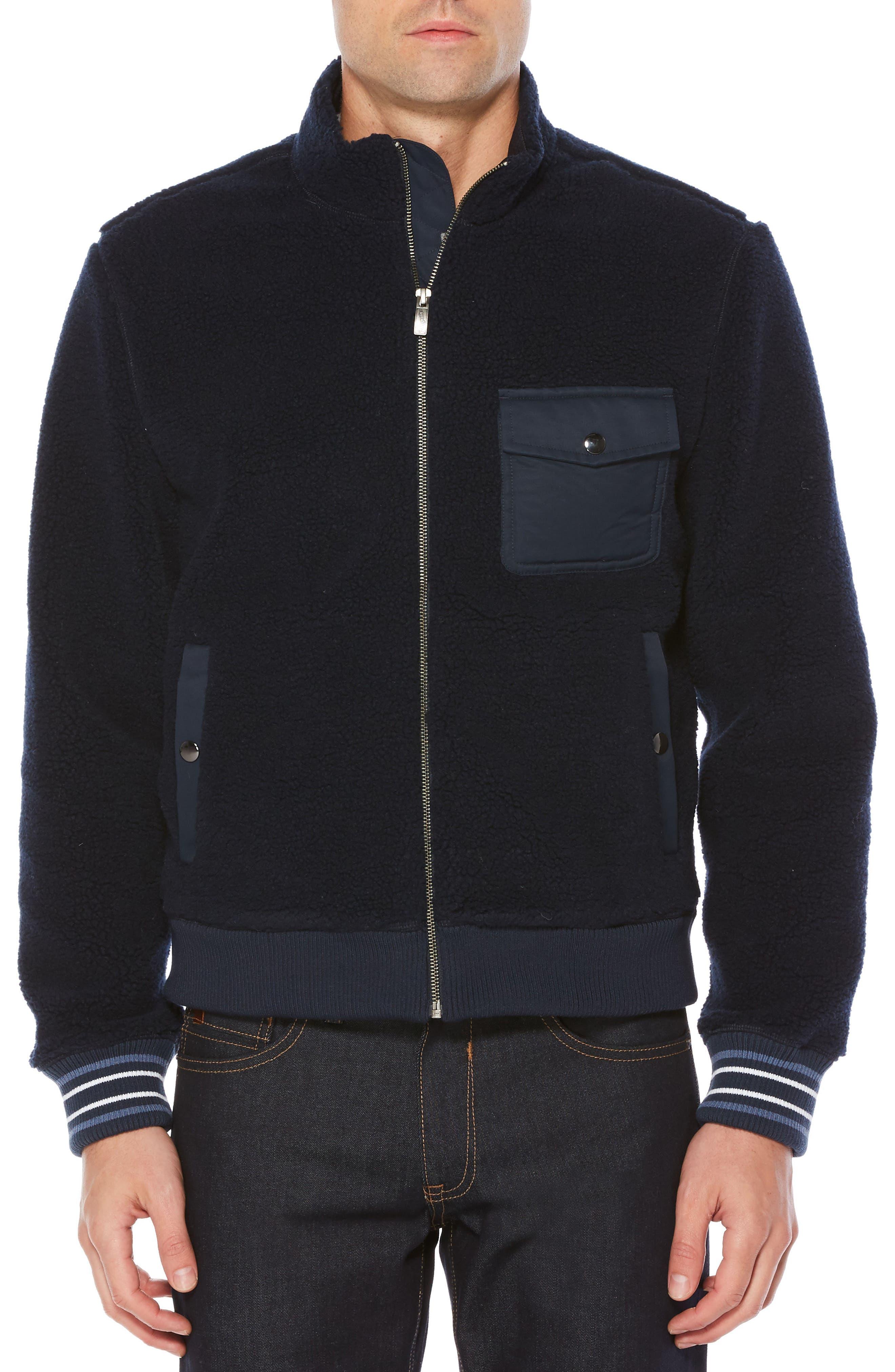 Fleece Bomber Jacket,                         Main,                         color, Dark Sapphire