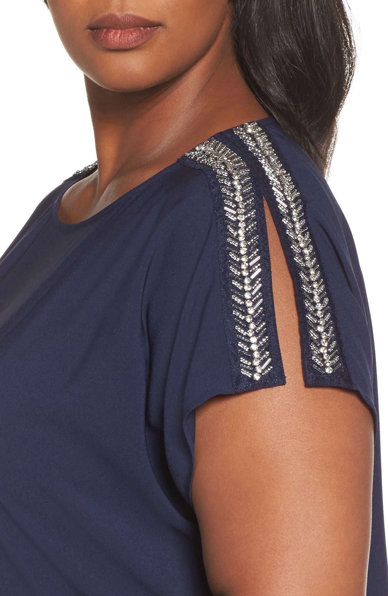 Embellished Slit Sleeve Blouse,                             Alternate thumbnail 4, color,                             Navy Peacoat