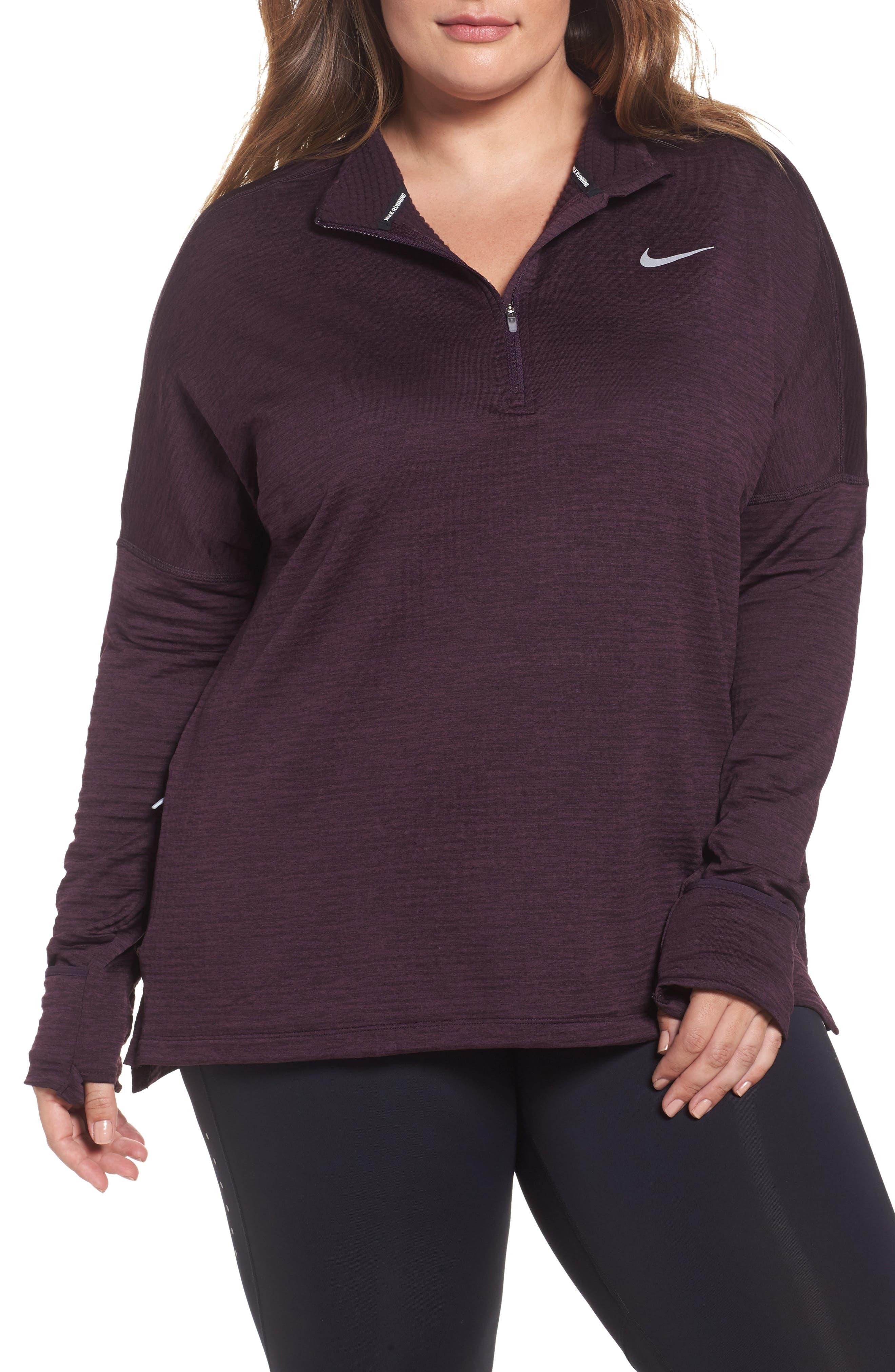 Alternate Image 1 Selected - Nike Sphere Element Long Sleeve Running Top (Plus Size)