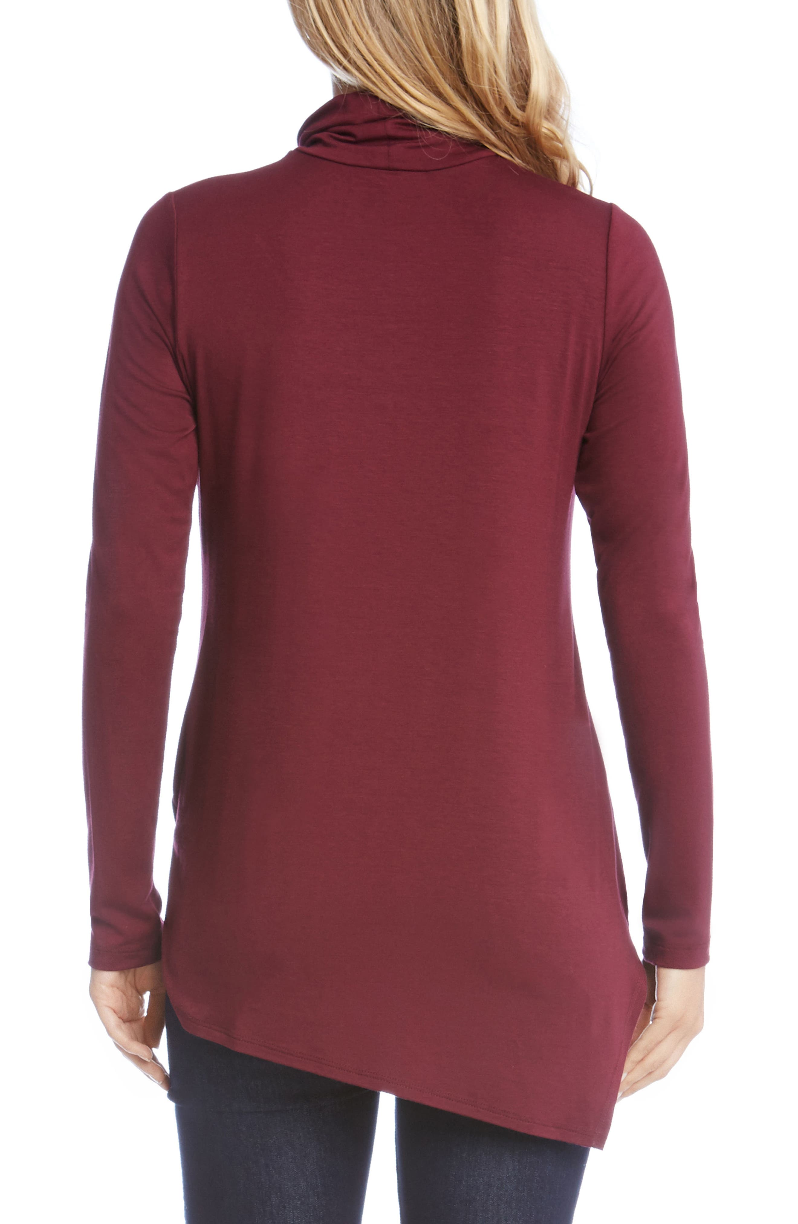 Asymmetrical Turtleneck Top,                             Alternate thumbnail 2, color,                             Wine