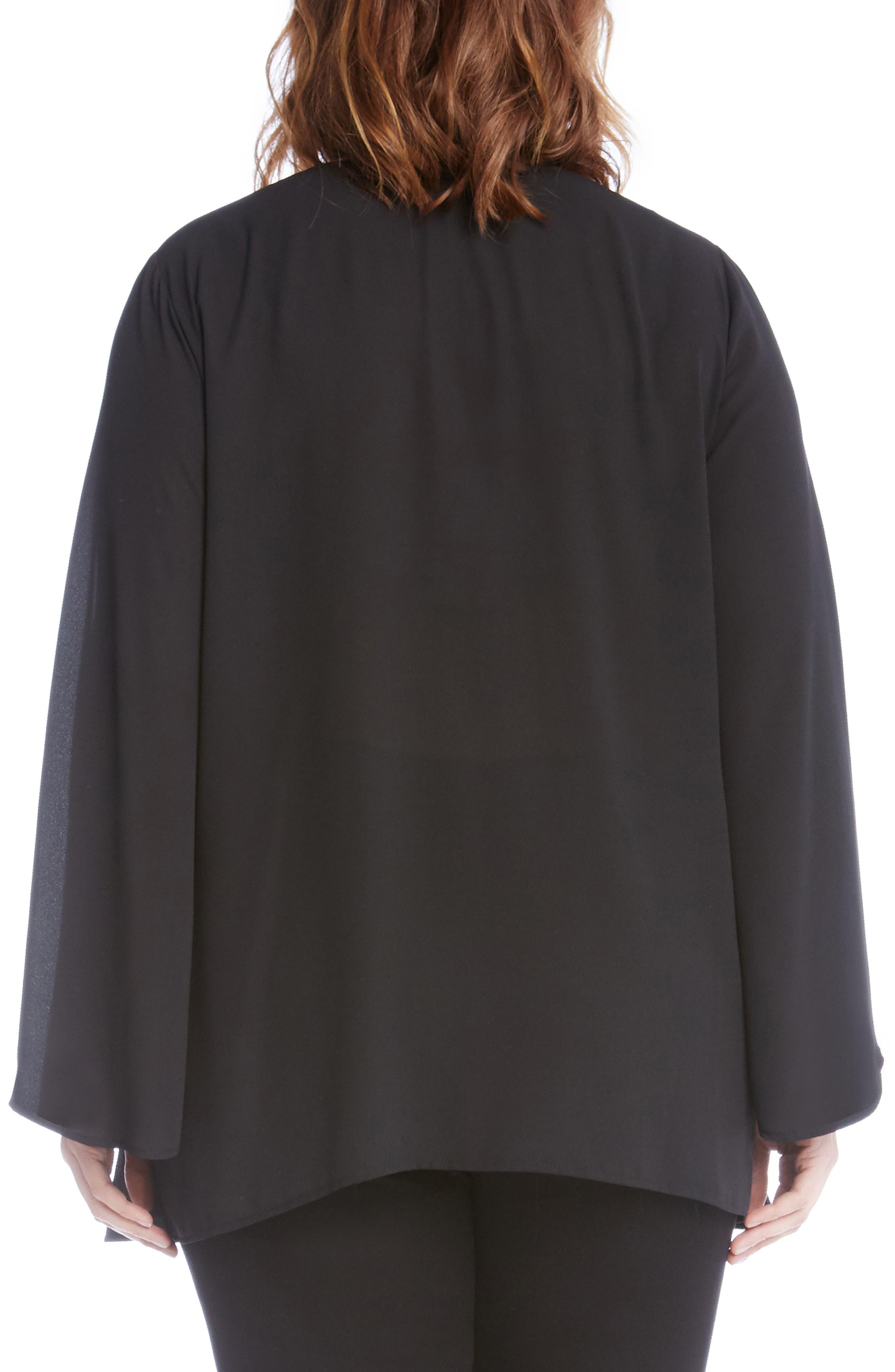 Sparkle Bell Sleeve Top,                             Alternate thumbnail 2, color,                             Black