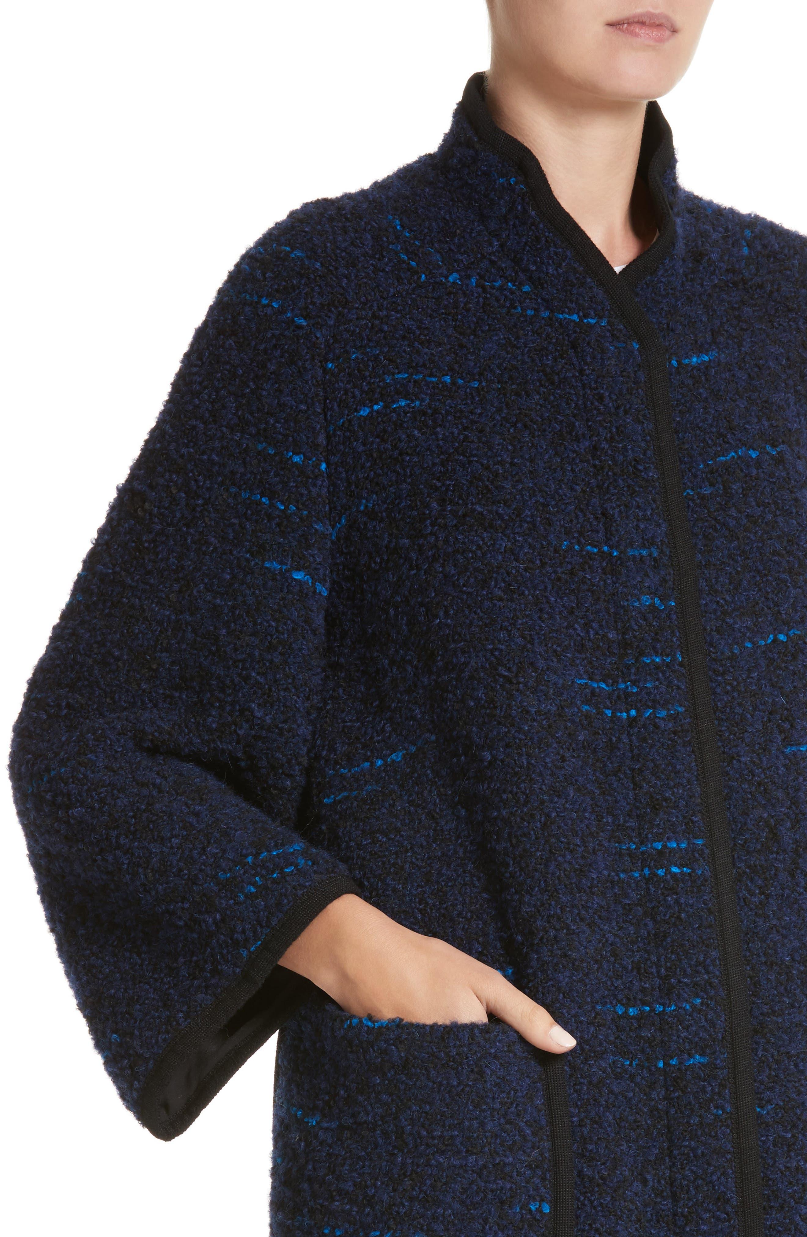 Wool Blend Swing Coat,                             Alternate thumbnail 4, color,                             Navy / Blue Multi