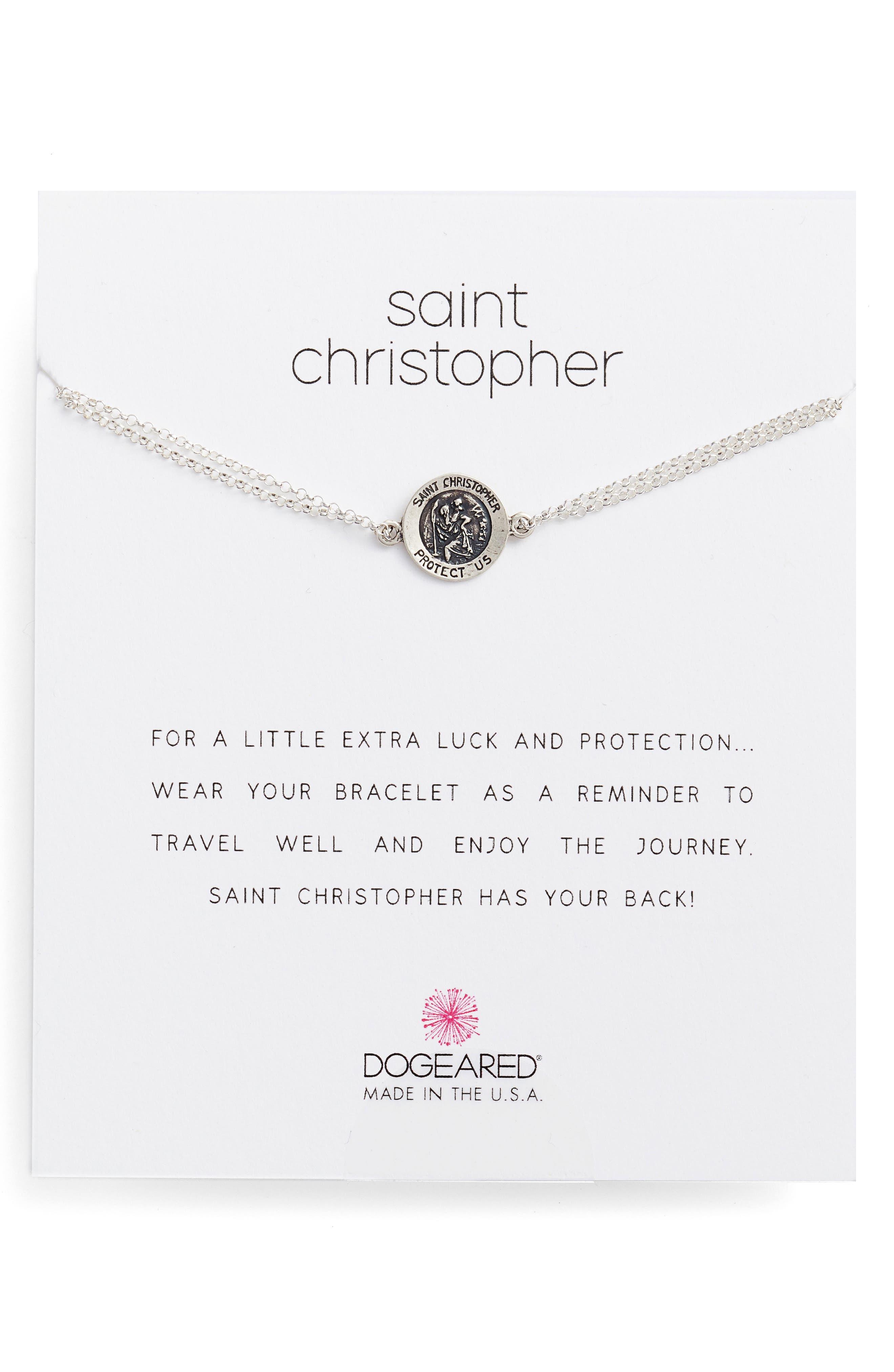 Saint Christopher Bracelet,                         Main,                         color, Beige/ Silver