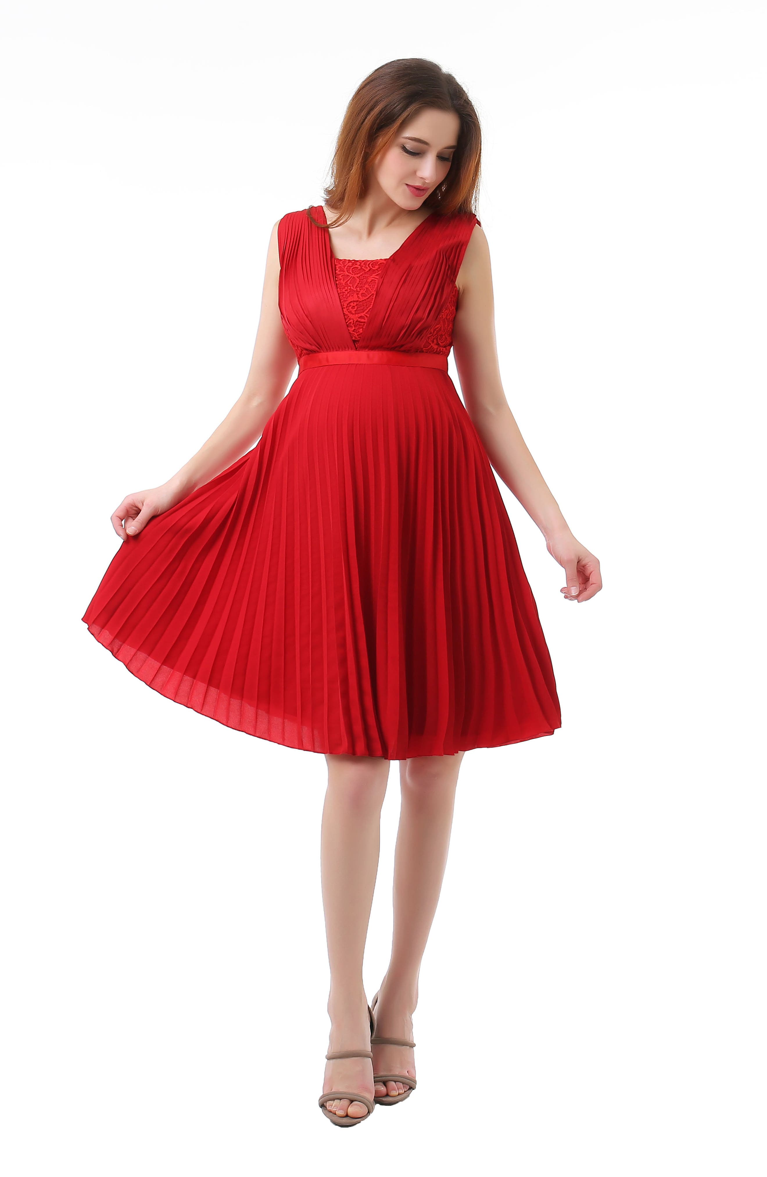 Lauren Chiffon & Lace Maternity Dress,                             Alternate thumbnail 4, color,                             Red