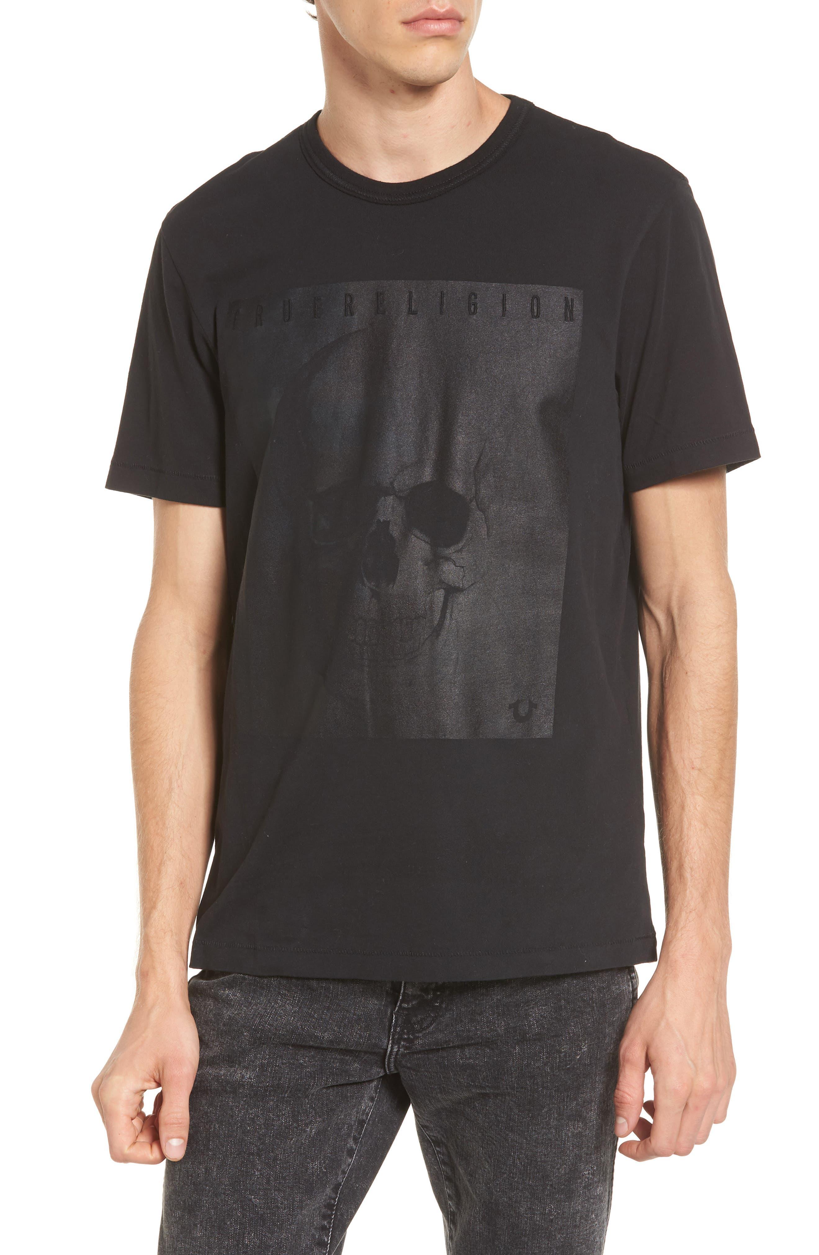Foil Print T-Shirt,                         Main,                         color, Washed Black