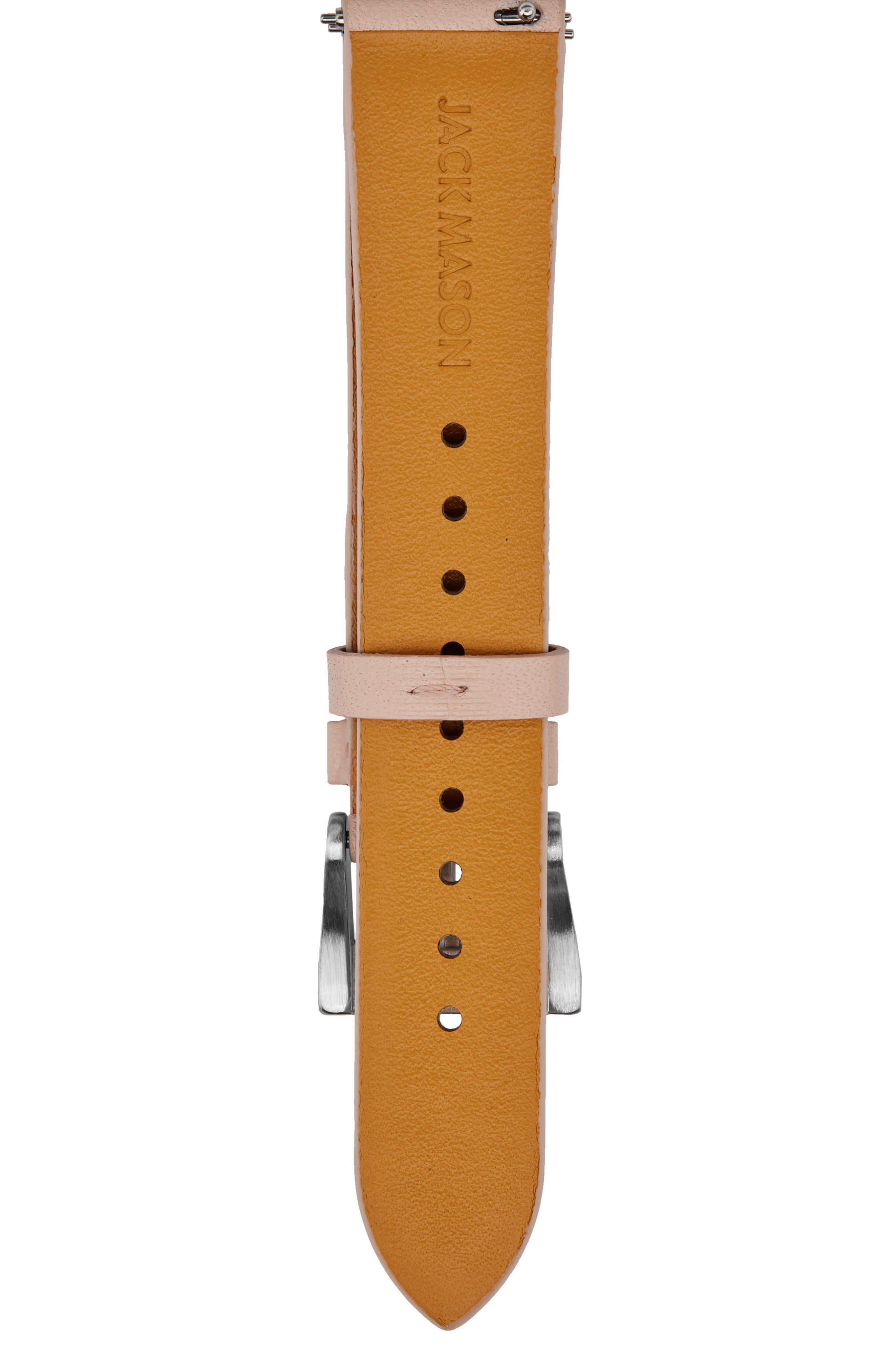 Leather Watch Strap, 18mm,                             Alternate thumbnail 2, color,                             Pink