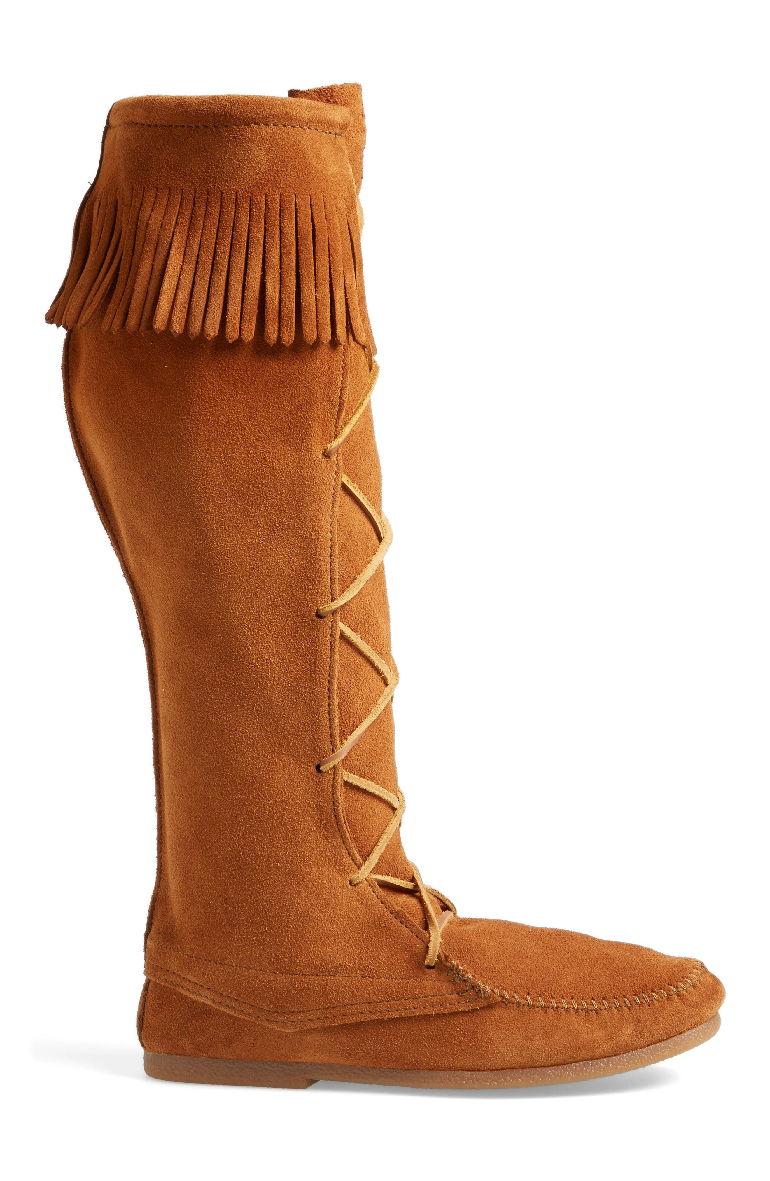 Knee High Moccasin Boot,                             Alternate thumbnail 3, color,                             Brown Suede