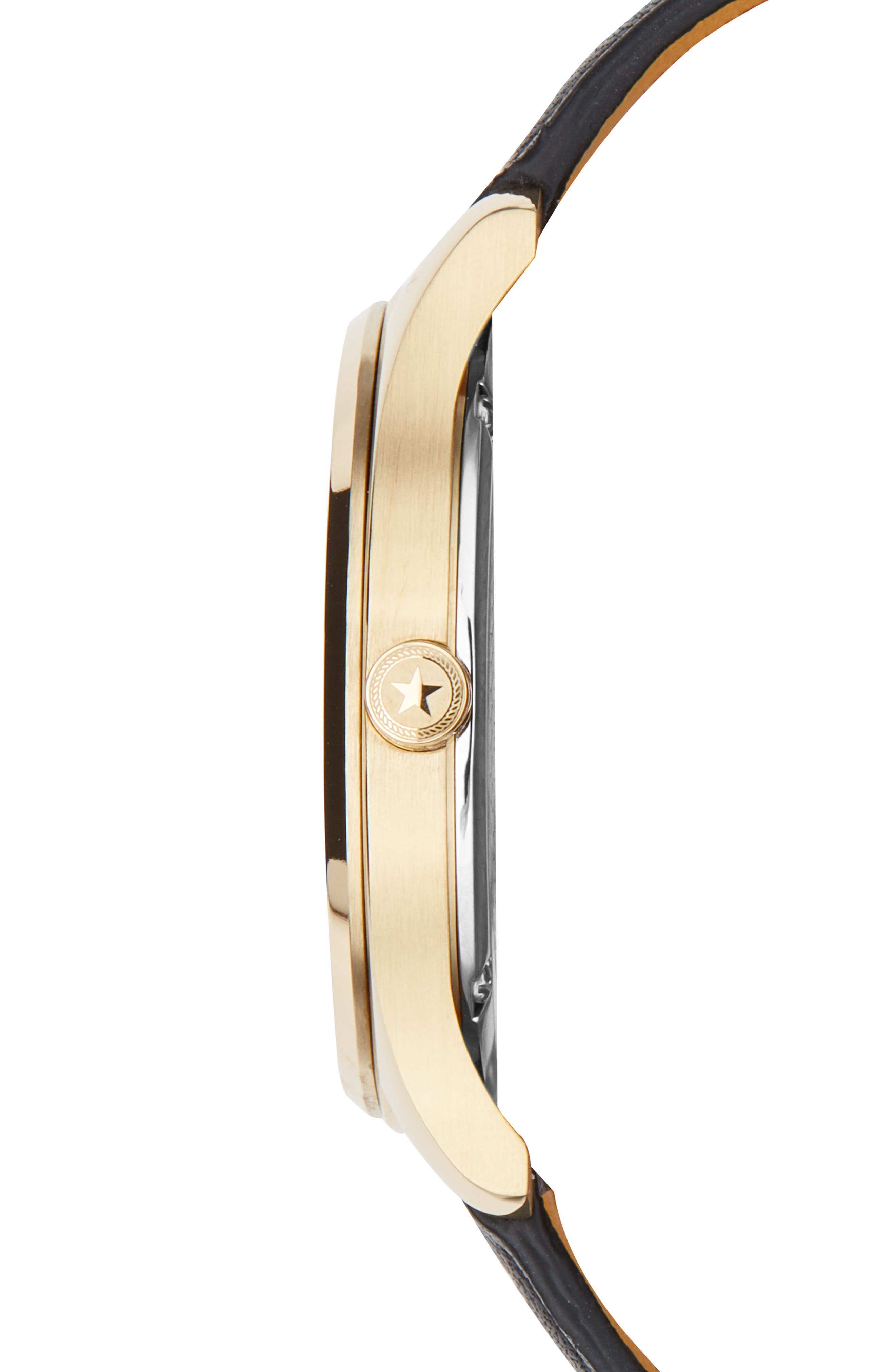 Slim Leather Strap Watch, 38mm,                             Alternate thumbnail 3, color,                             Black/ Gold
