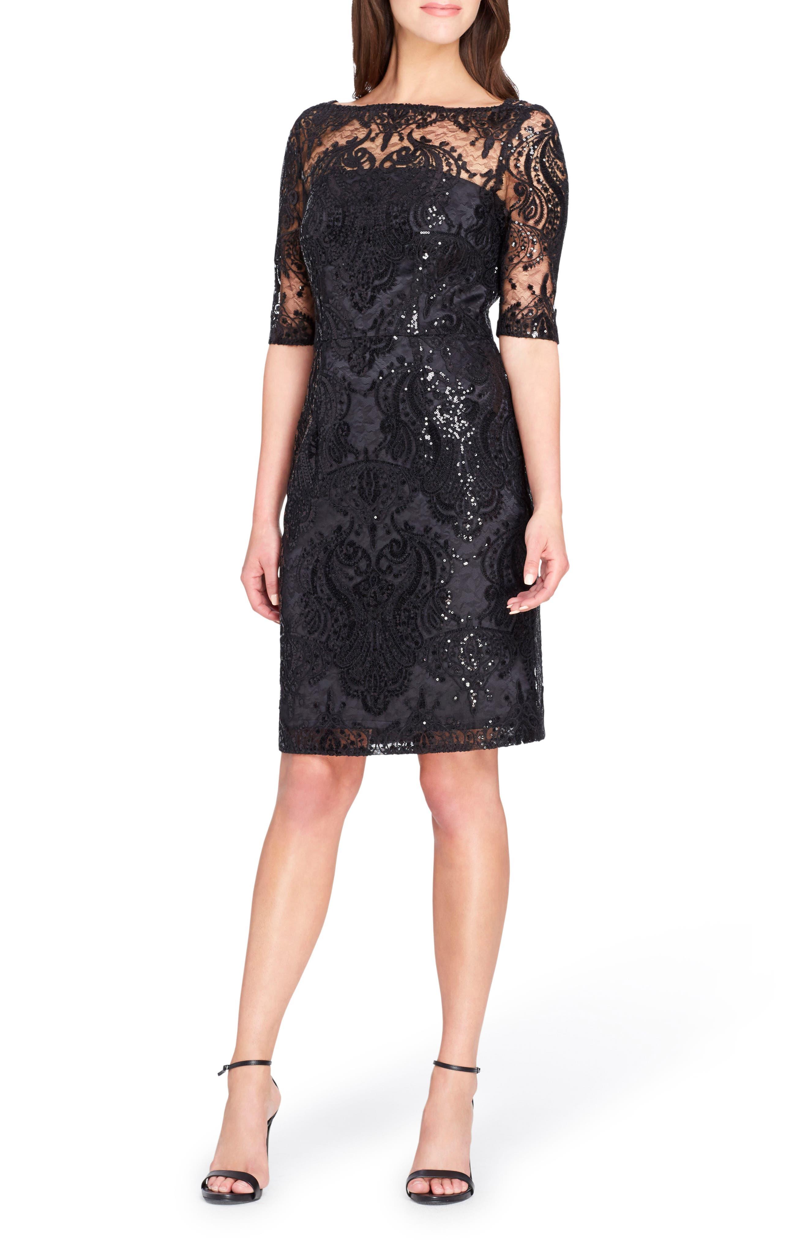 Main Image - Tahari Sequin Illusion Sheath Dress