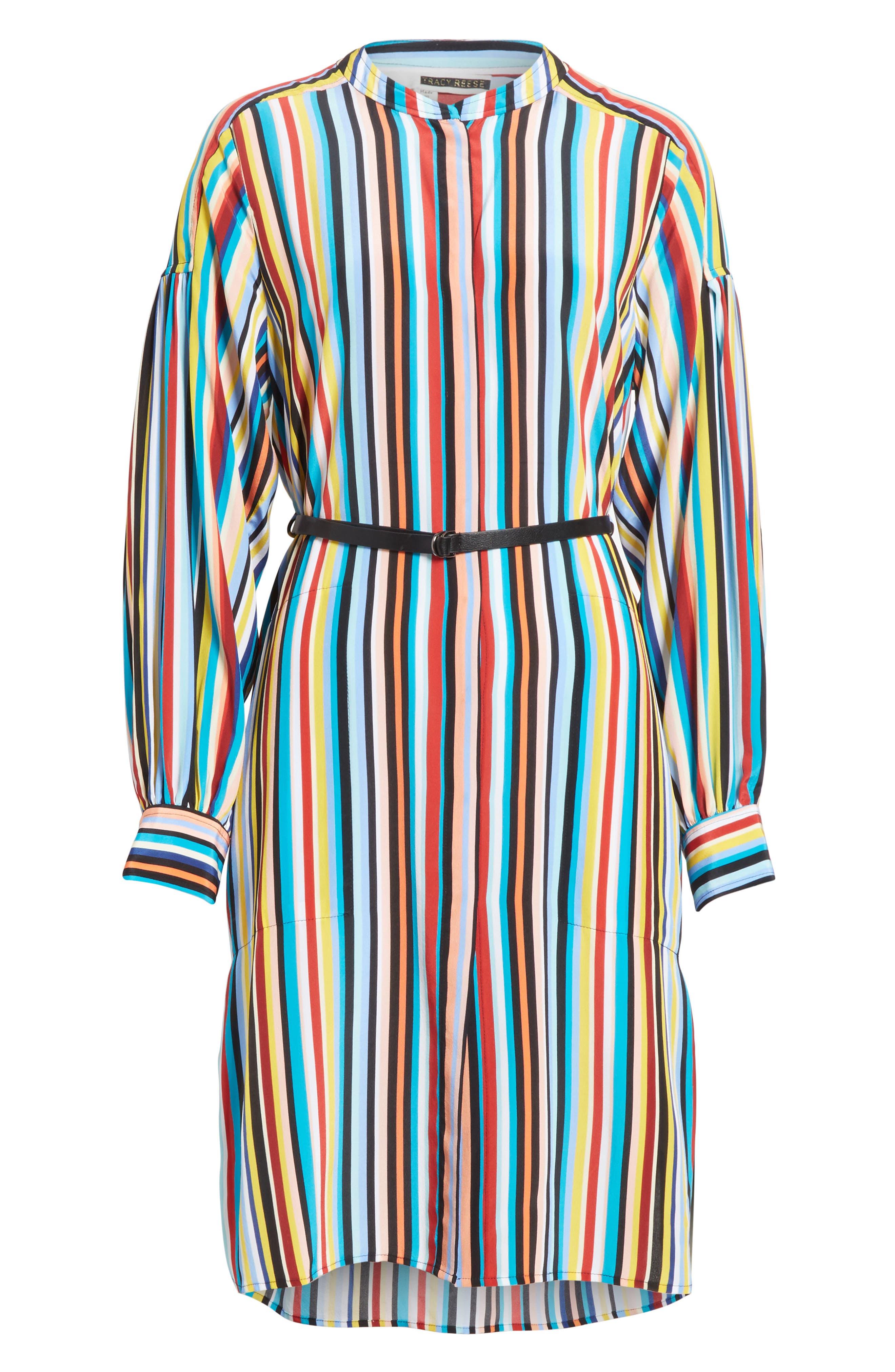 Stripe Silk Shirtdress,                             Alternate thumbnail 6, color,                             Skinny Stripes