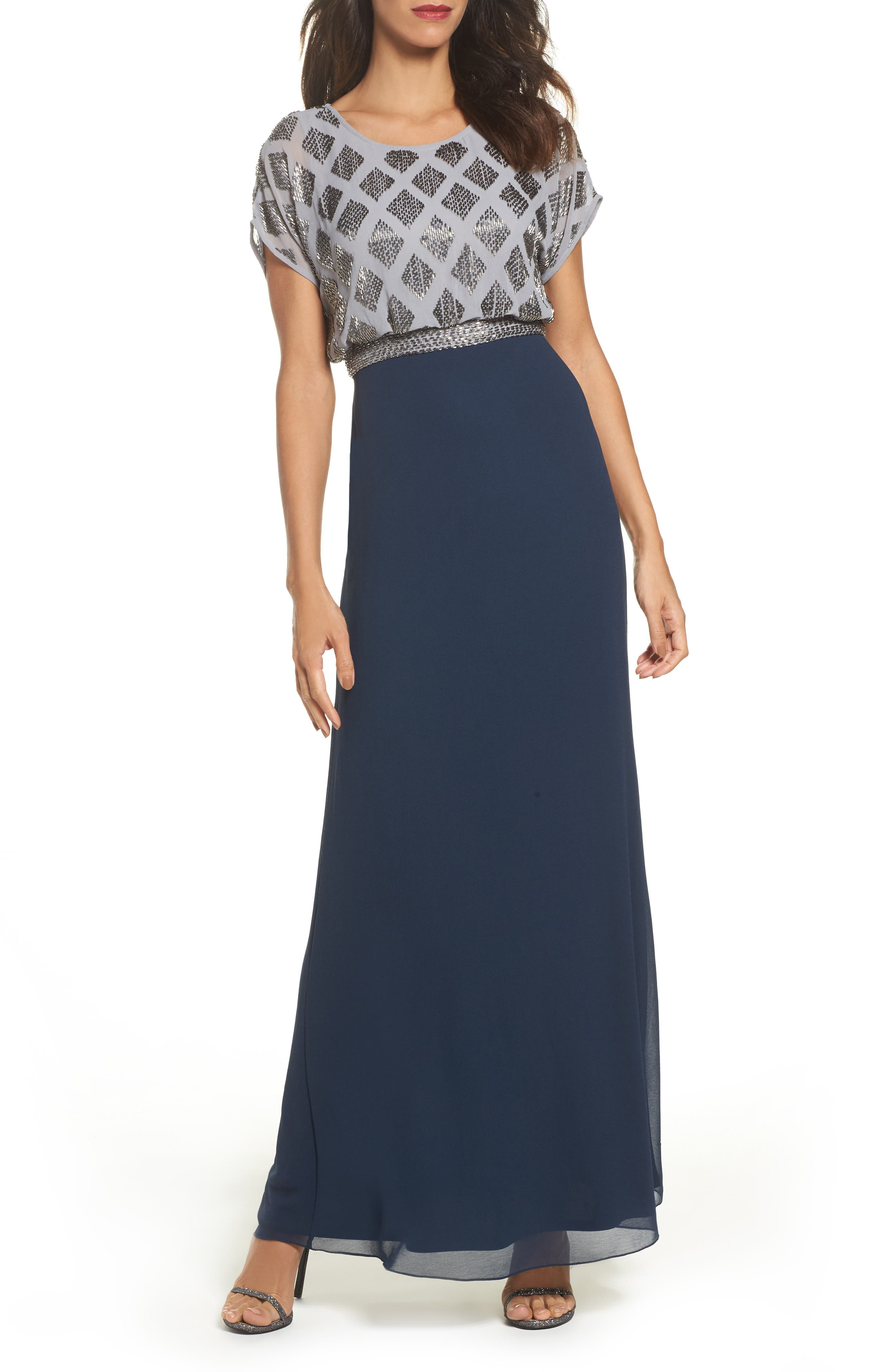 Beaded Colorblock Blouson Gown,                             Main thumbnail 1, color,                             Silver/ Navy