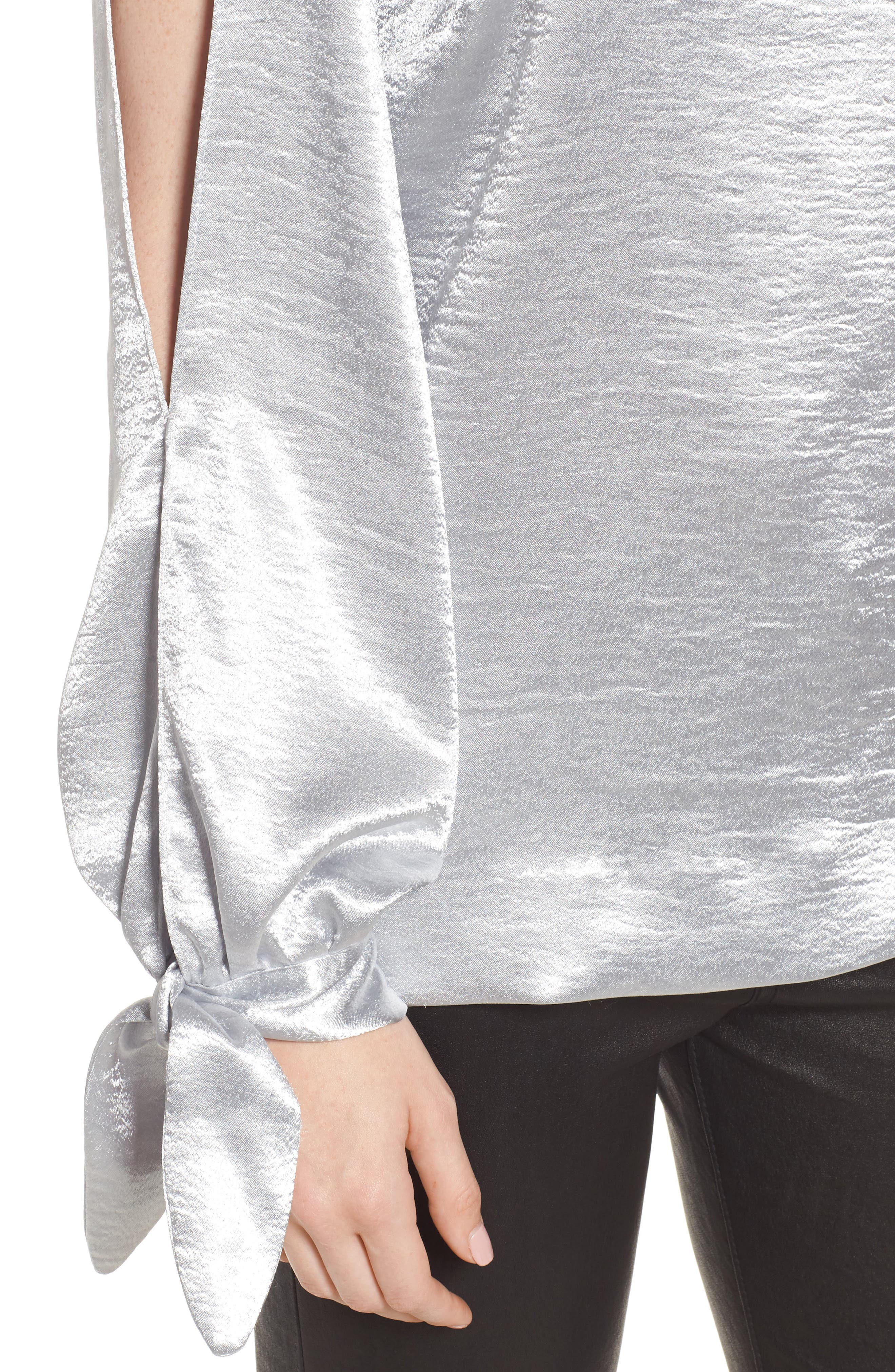 Nash One-Shoulder Blouse,                             Alternate thumbnail 4, color,                             Silver
