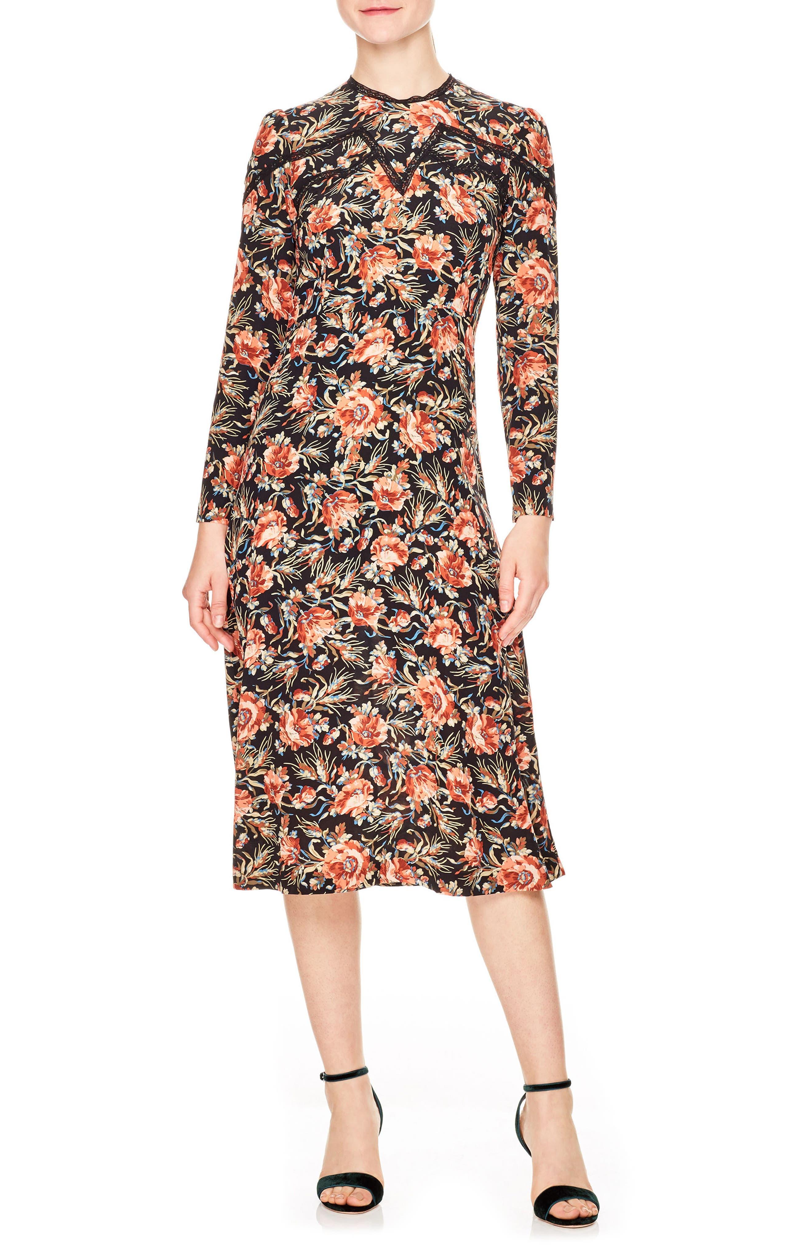 sandro Sven Print Silk Midi Dress