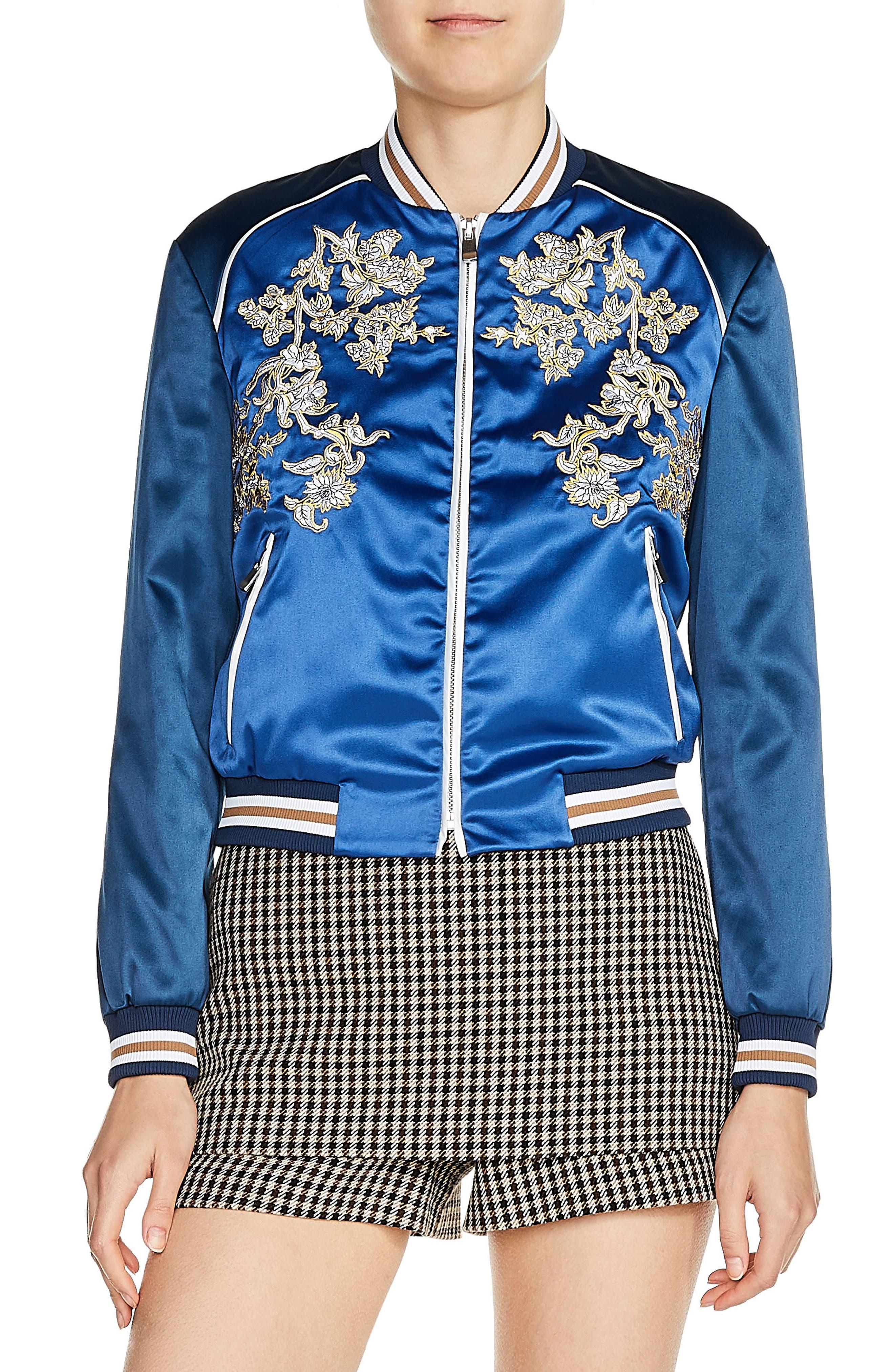 maje Floral Appliqué Bomber Jacket