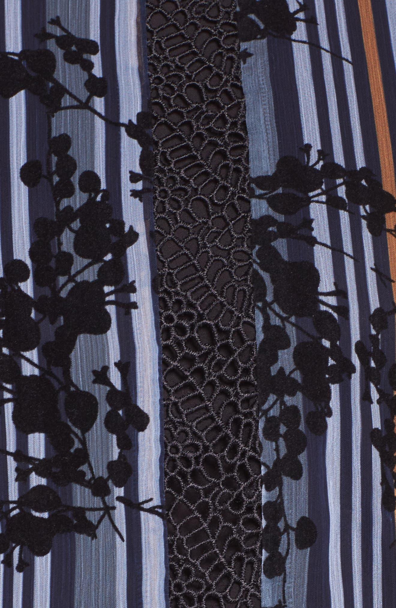 Stripe Minidress,                             Alternate thumbnail 5, color,                             Blue Floral Stripe