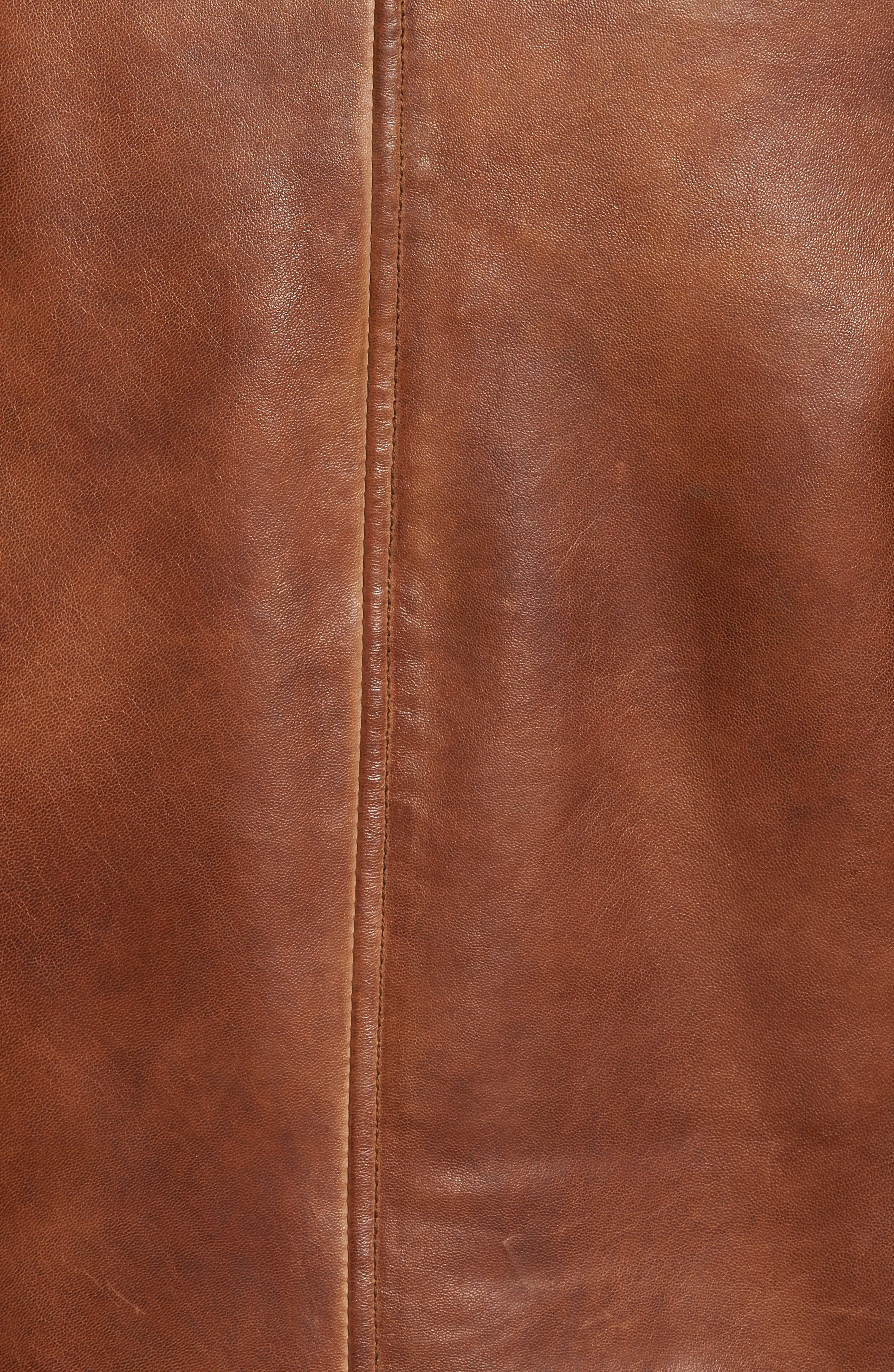 Leather Moto Jacket with Removable Hood,                             Alternate thumbnail 5, color,                             Luggage Brown