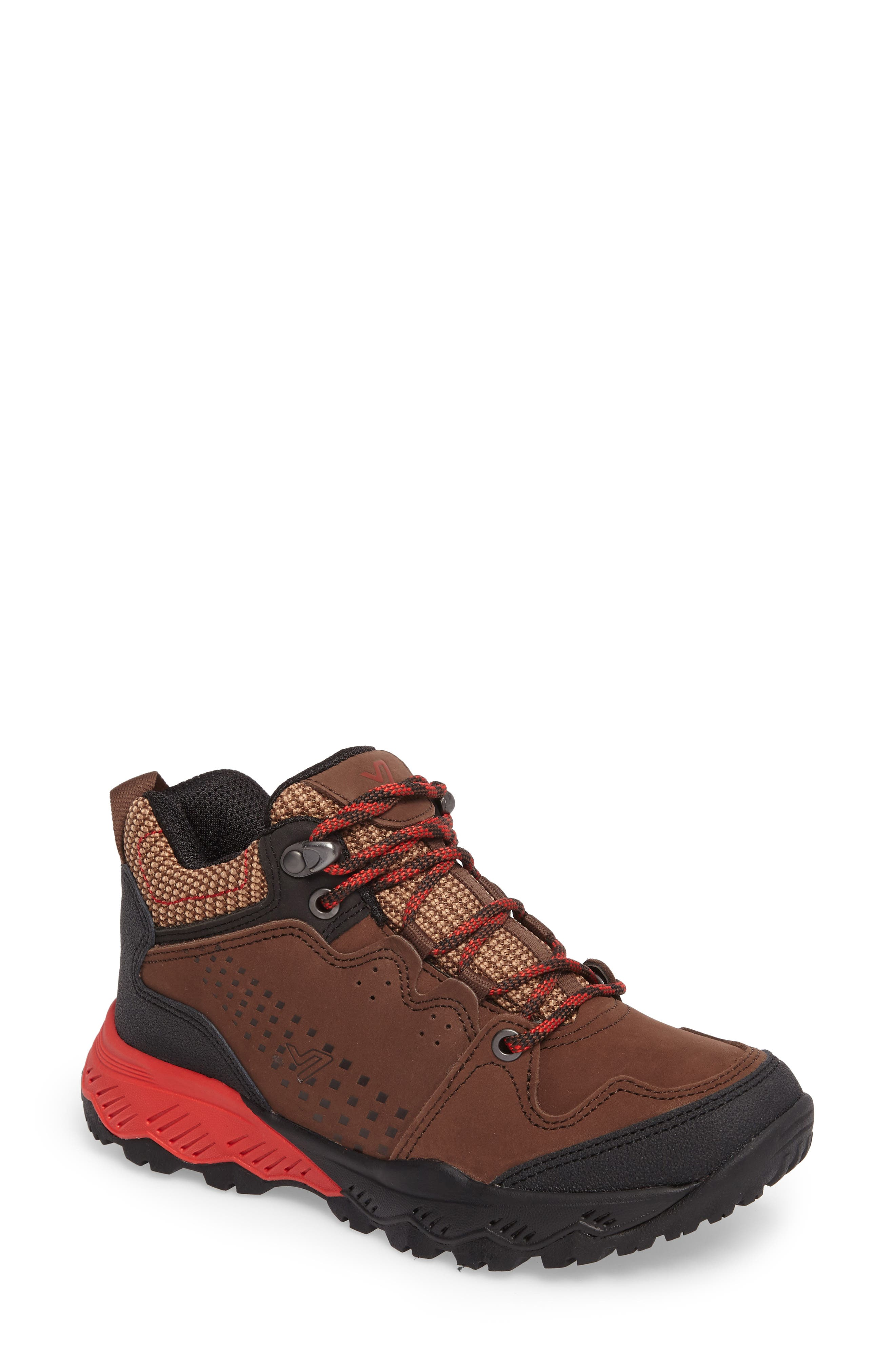 Everett Hiking Shoe,                             Main thumbnail 1, color,                             Brown / Red Leather