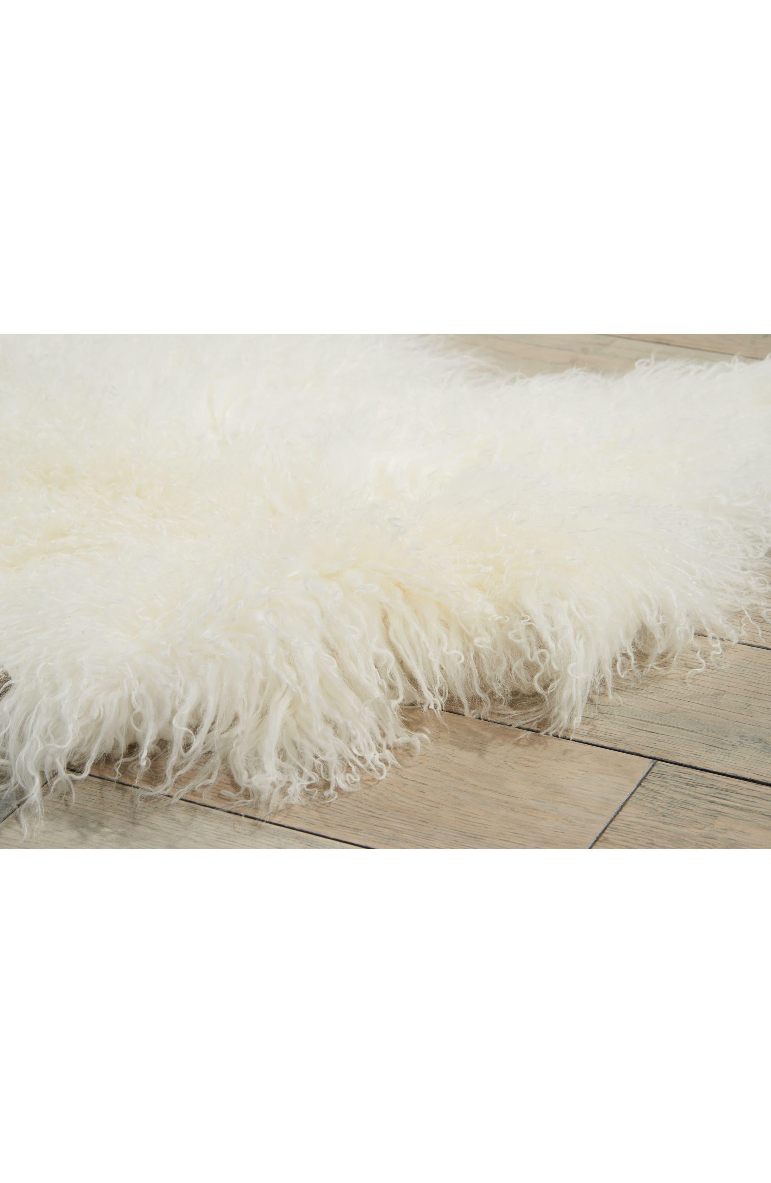 Genuine Sheepskin Freeform Rug,                             Alternate thumbnail 4, color,                             White