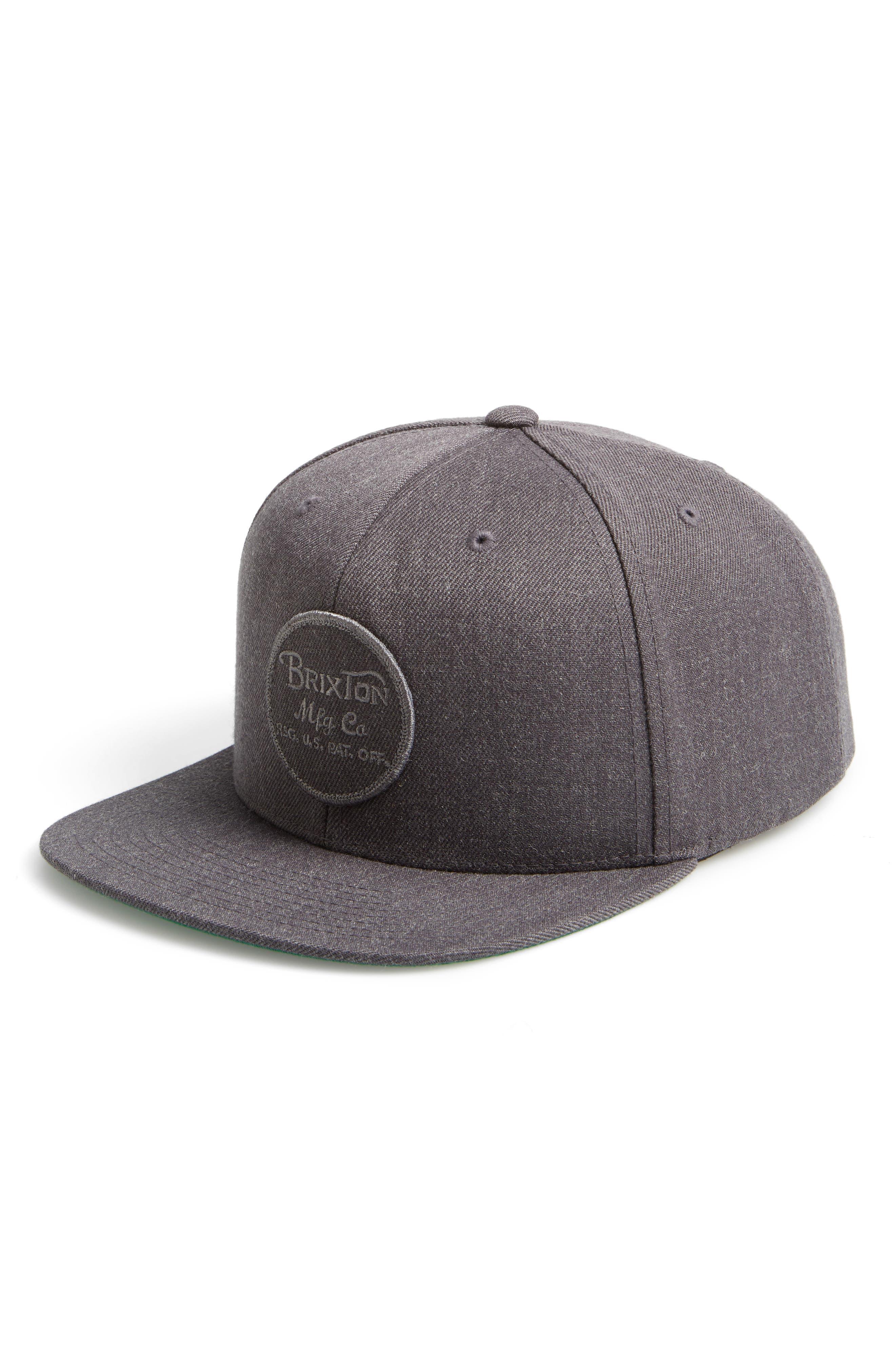 'Wheeler' Snapback Cap,                         Main,                         color, Charcoal Heather Grey