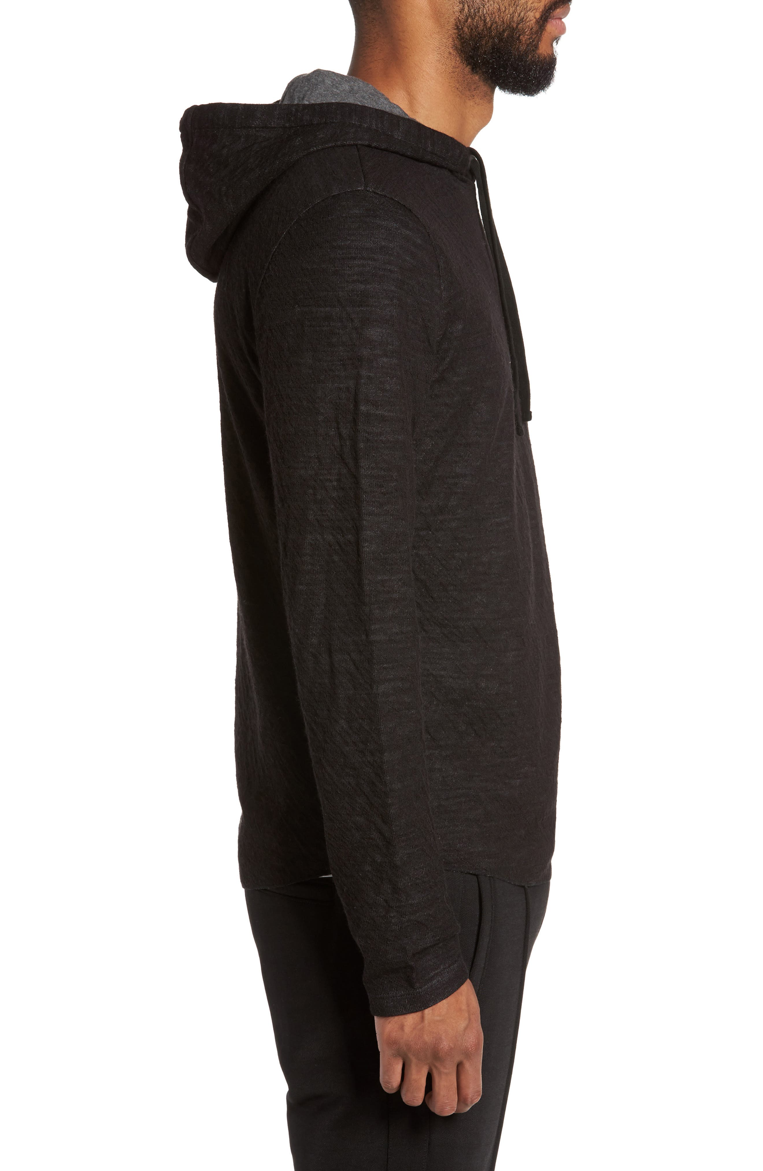 Contrast Double Knit Cotton & Wool Hoodie,                             Alternate thumbnail 3, color,                             Black/ H Carbon