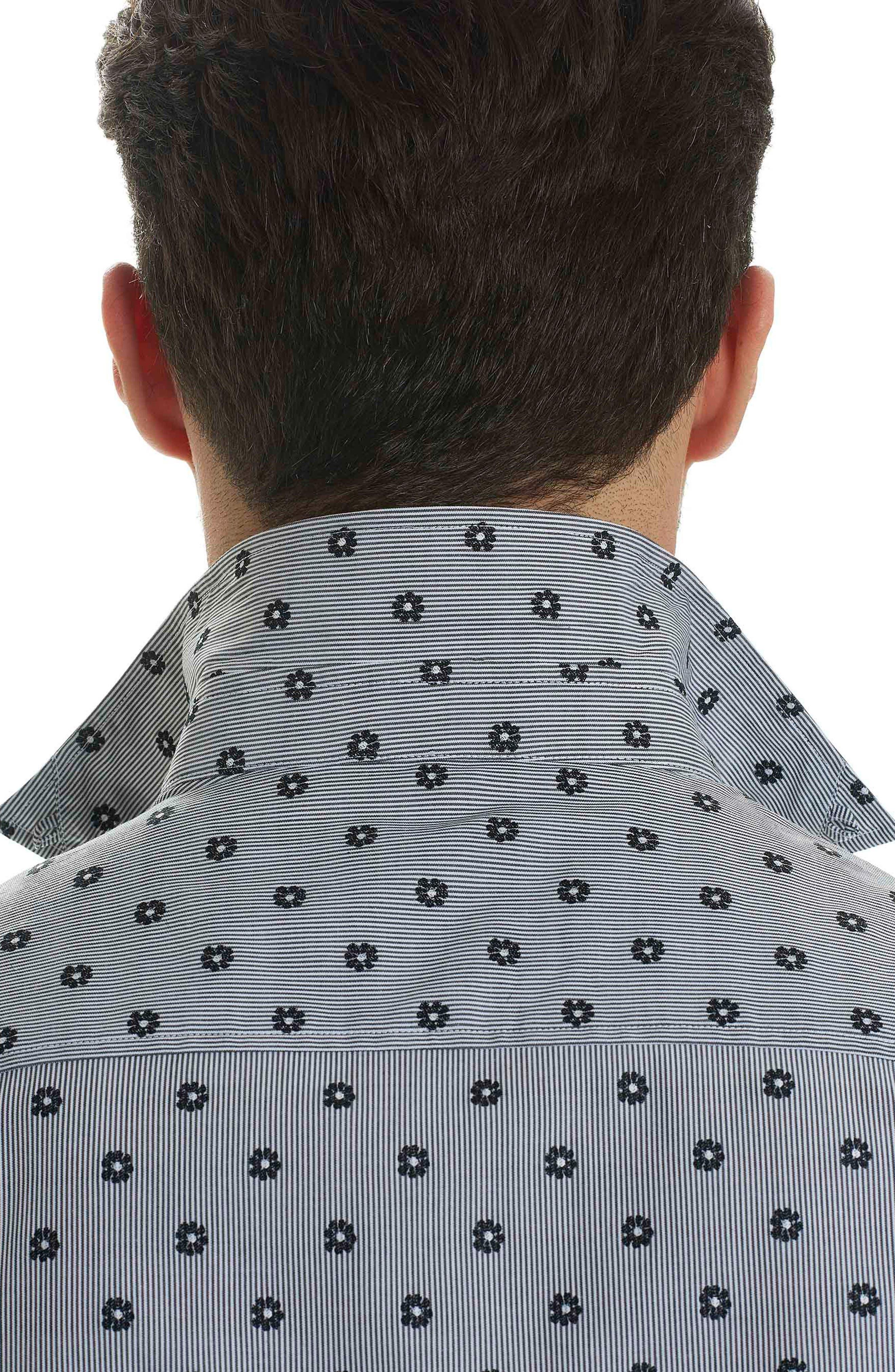 Ned Slim Fit Floral Stripe Sport Shirt,                             Alternate thumbnail 3, color,                             Black