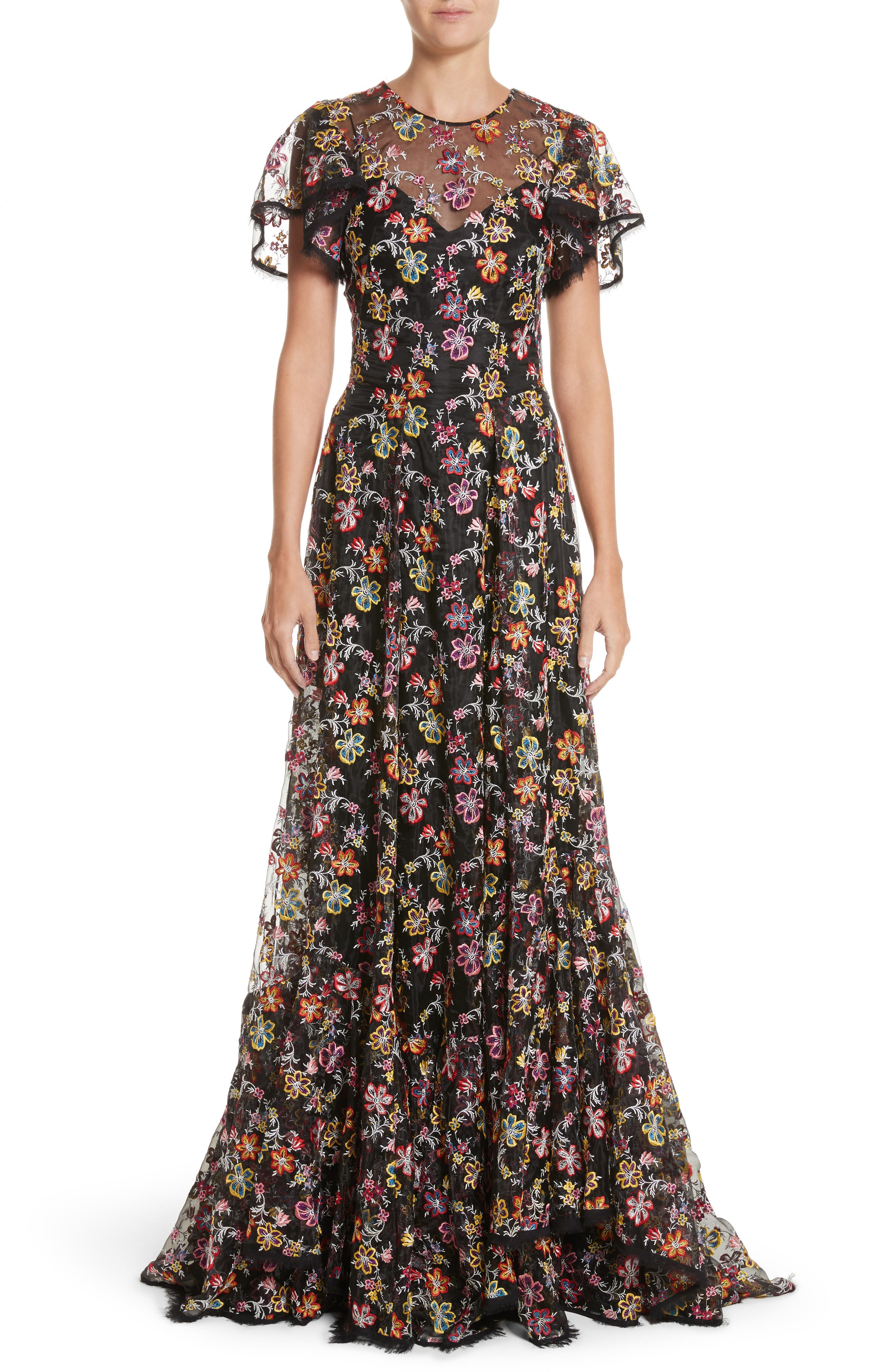 Embroidered Organza Flutter Sleeve Gown,                             Main thumbnail 1, color,                             Multi Floral