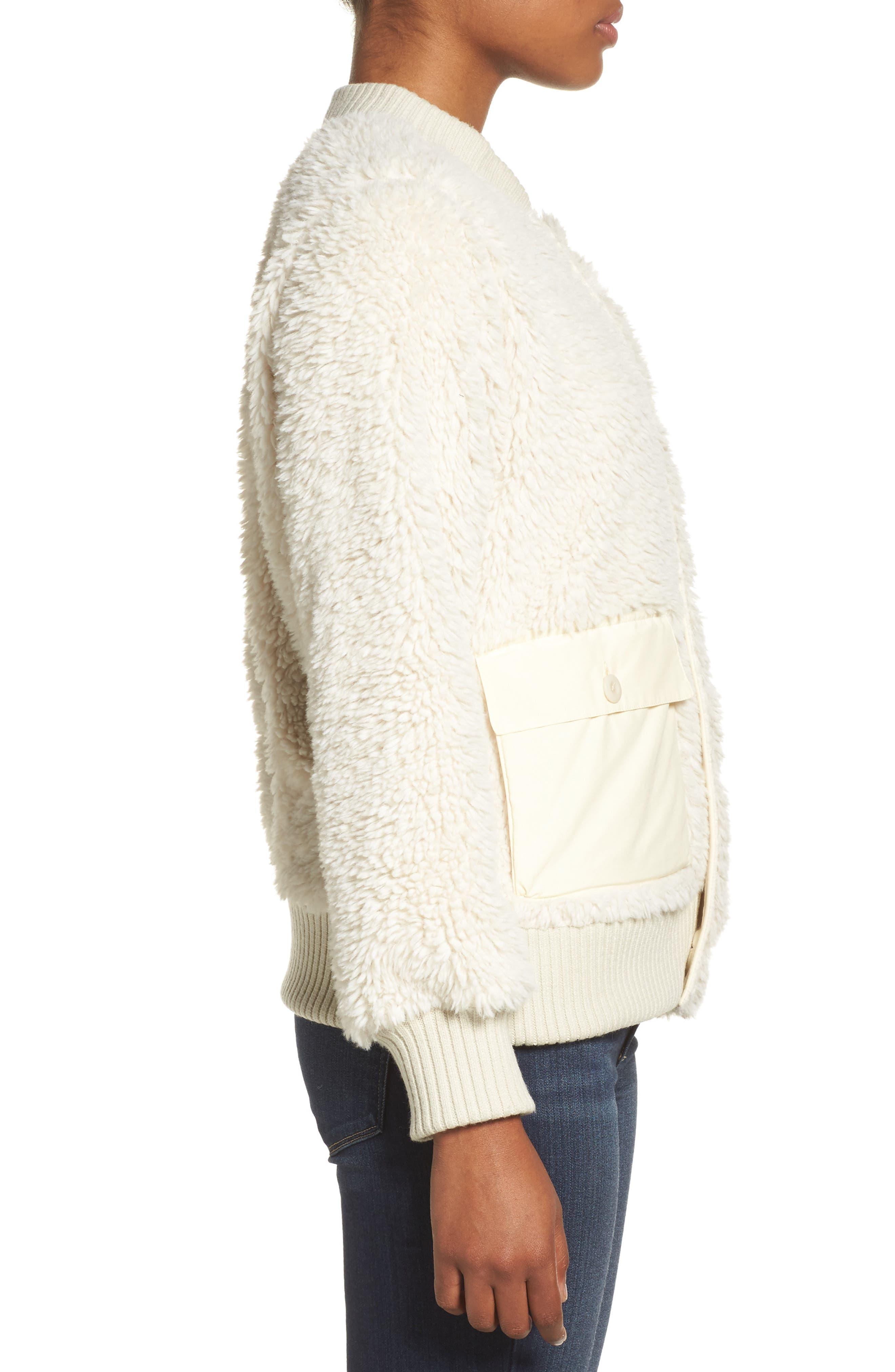Shawmut High Pile DRYRIDE Thermex Fleece Jacket,                             Alternate thumbnail 3, color,                             Bone White