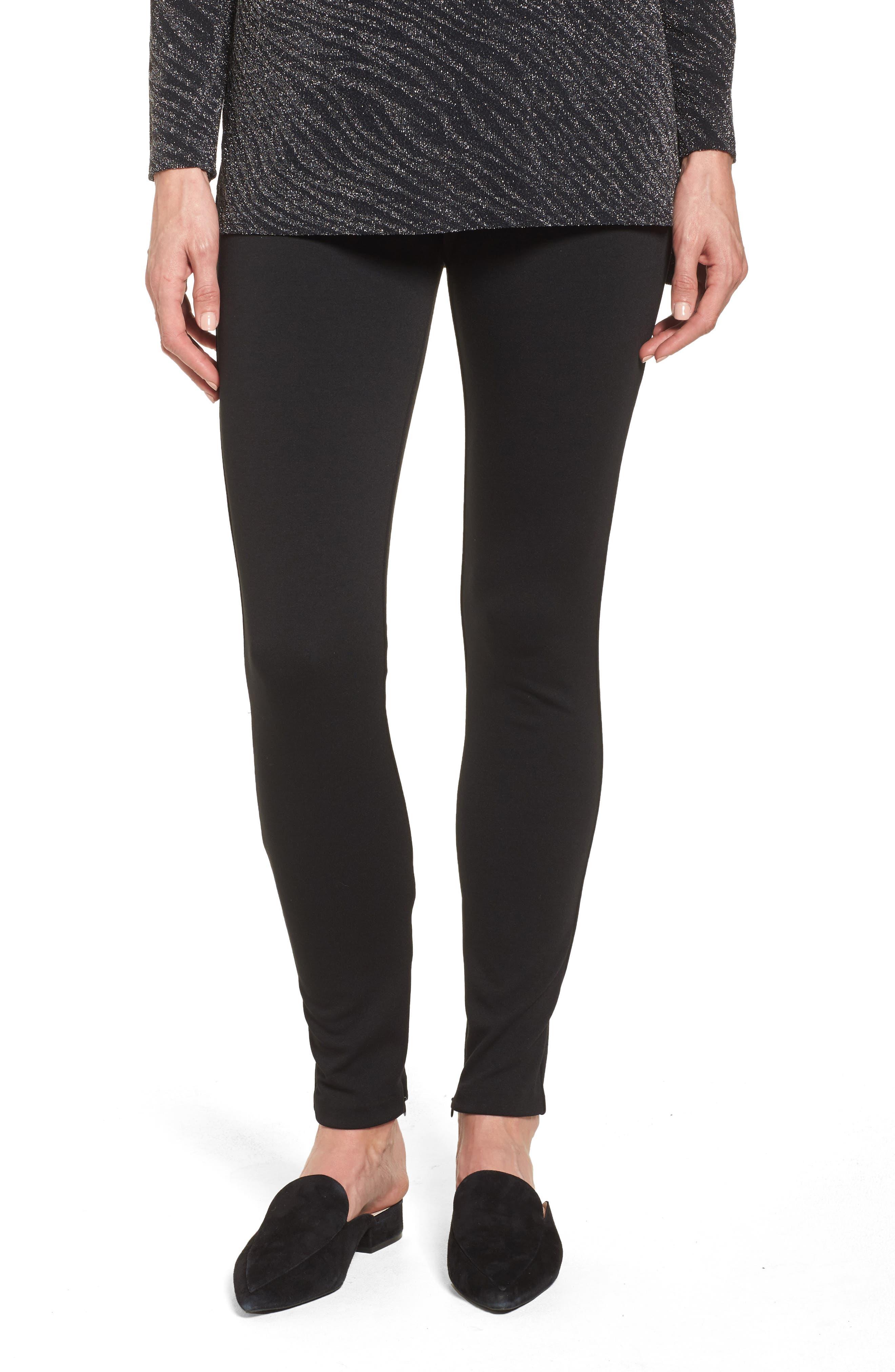 Zip Ankle Ponte Knit Leggings,                         Main,                         color, Rich Black