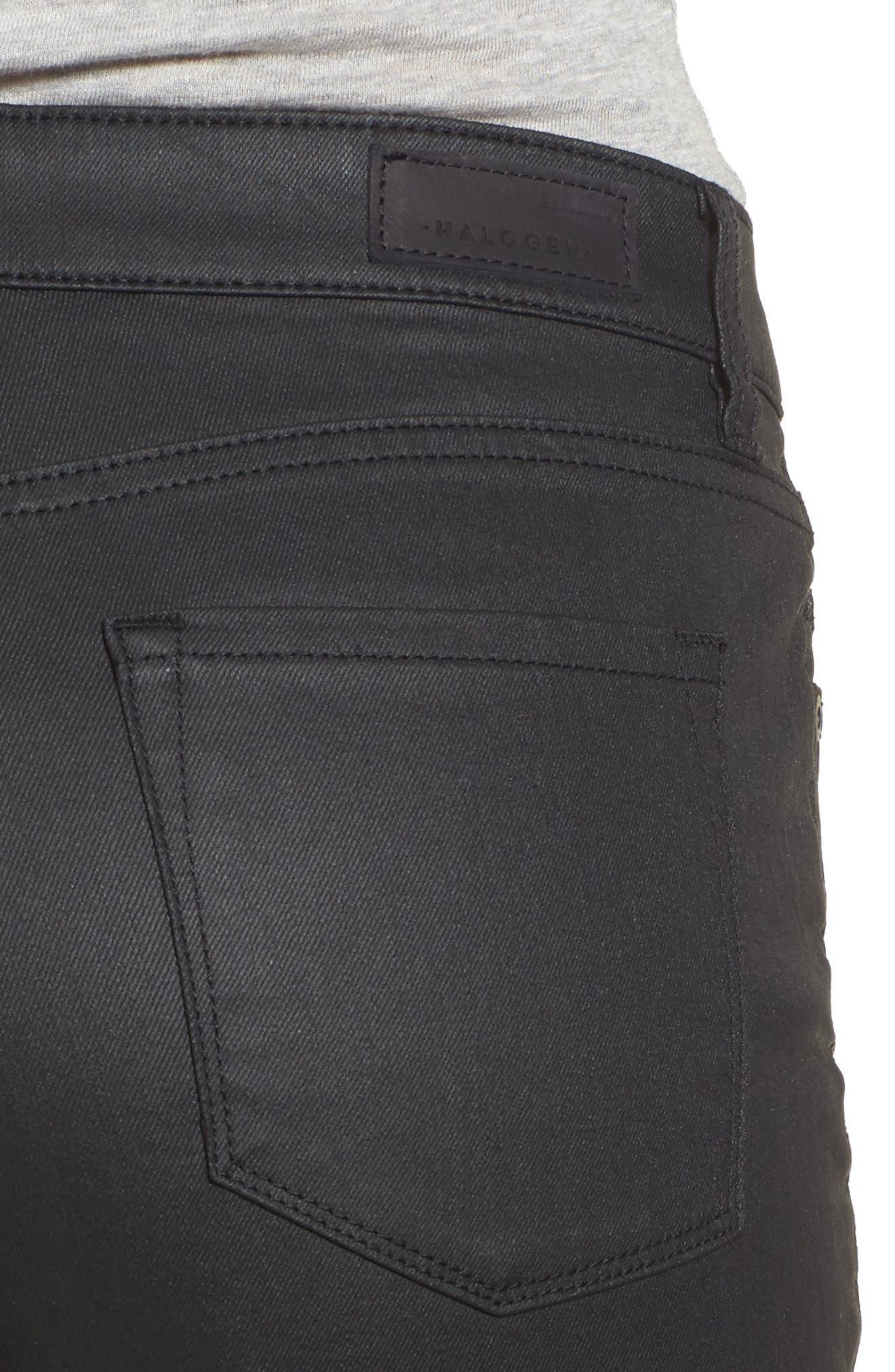 Coated Skinny Jeans,                             Alternate thumbnail 4, color,                             Black