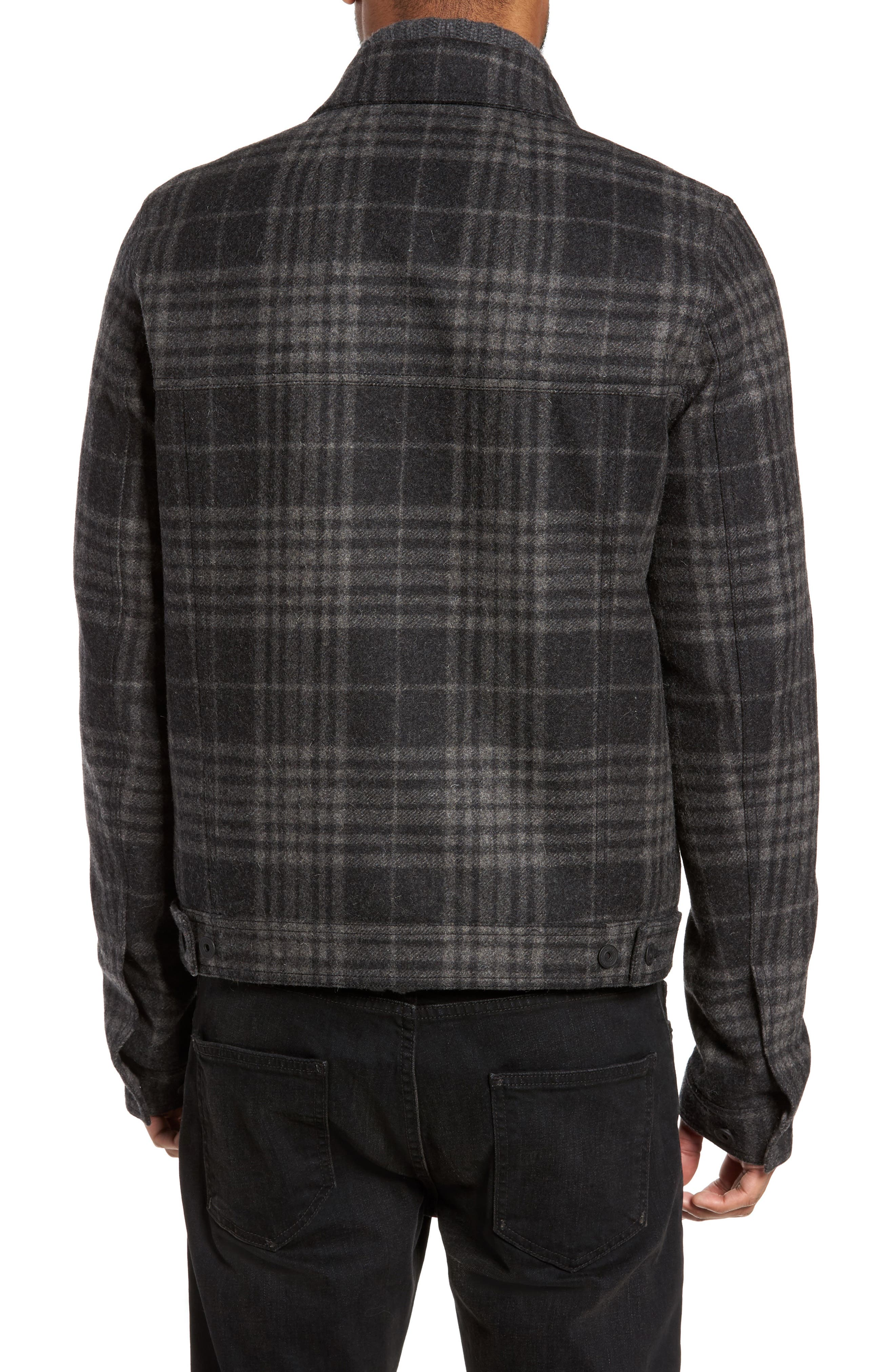 Plaid Trucker Jacket,                             Alternate thumbnail 2, color,                             Charcoal