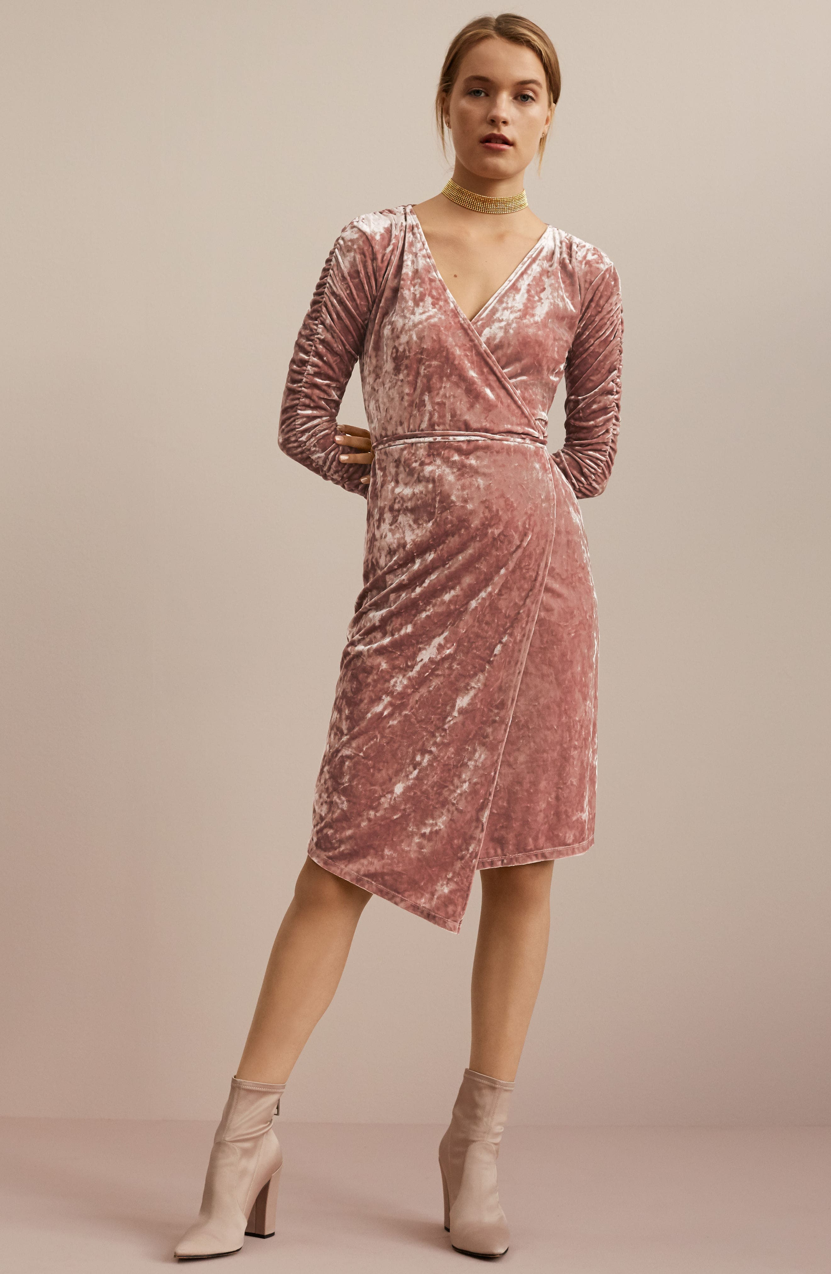 Alternate Image 2  - Leith Ruched Velour Wrap Dress