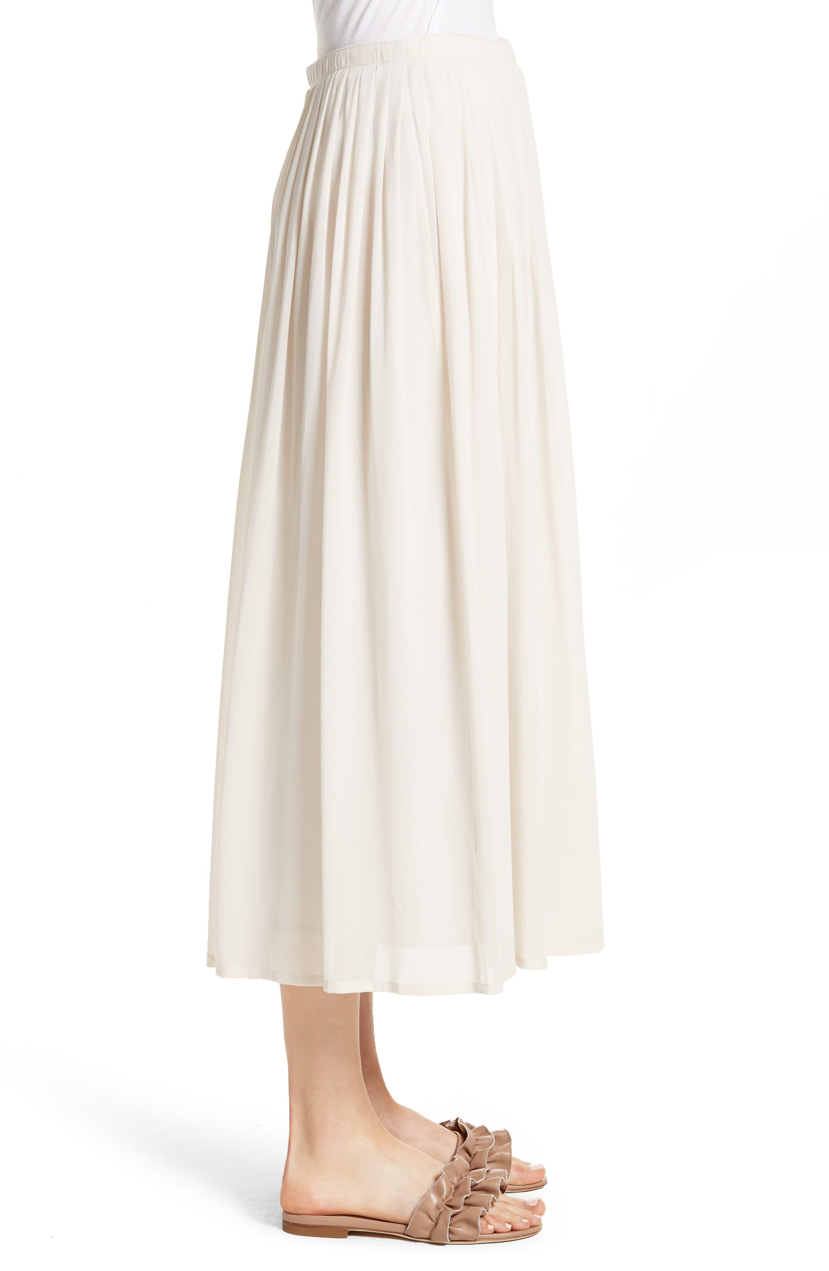 Pleated Chiffon Midi Skirt,                             Alternate thumbnail 6, color,                             Ecru