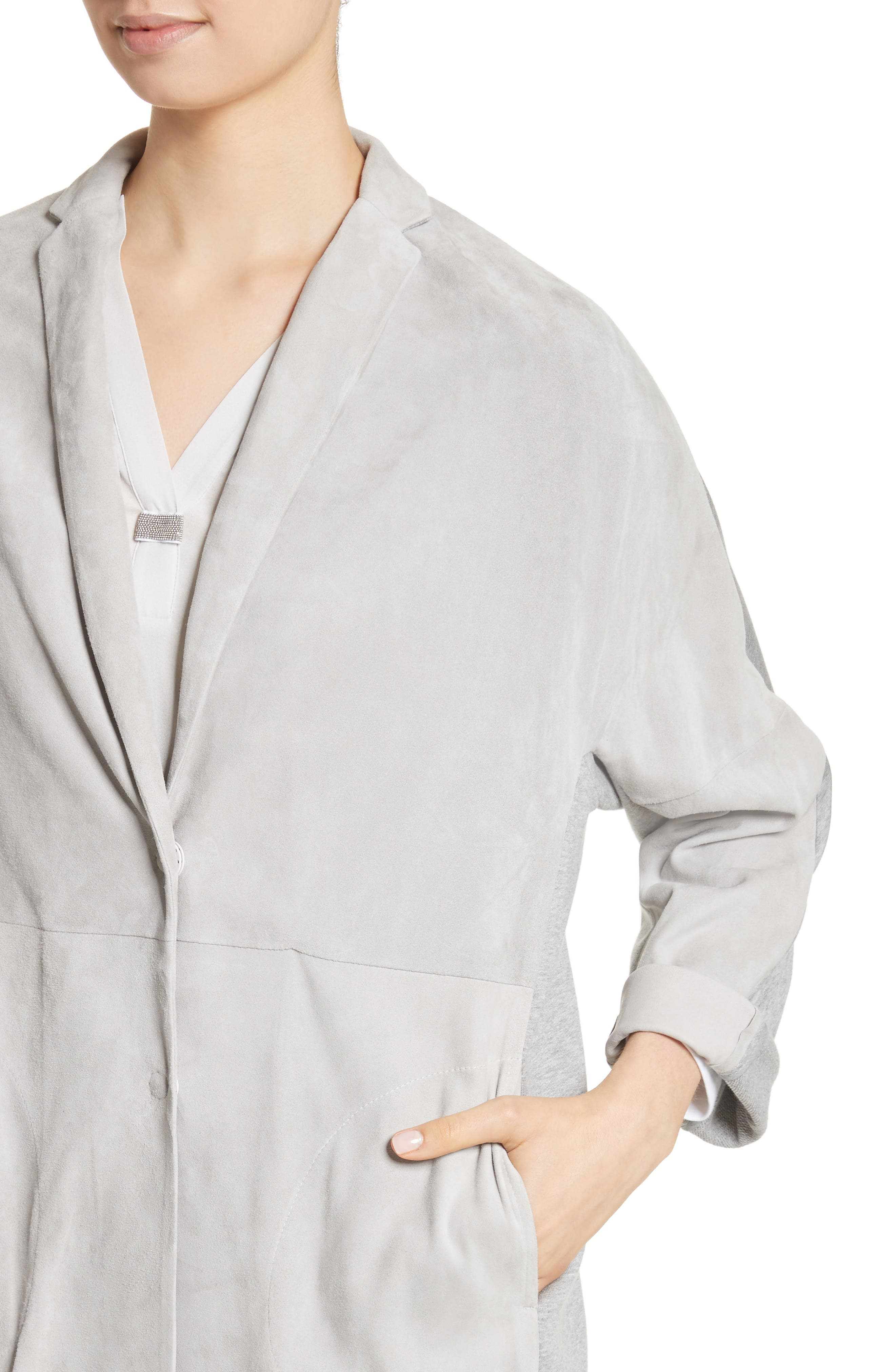 Suede Front Jersey Jacket,                             Alternate thumbnail 4, color,                             Grey
