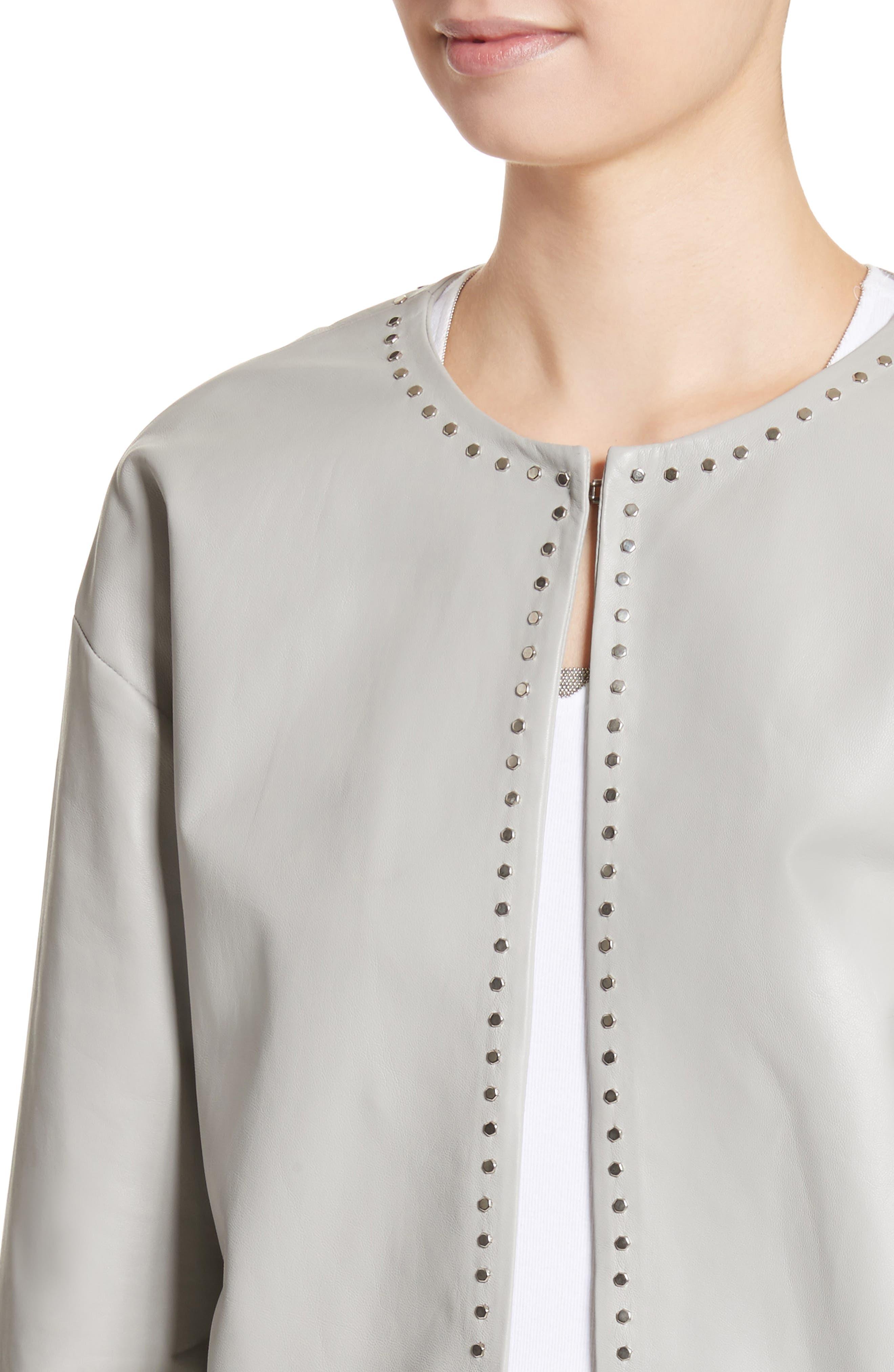 Studded Nappa Leather Jacket,                             Alternate thumbnail 4, color,                             Grey