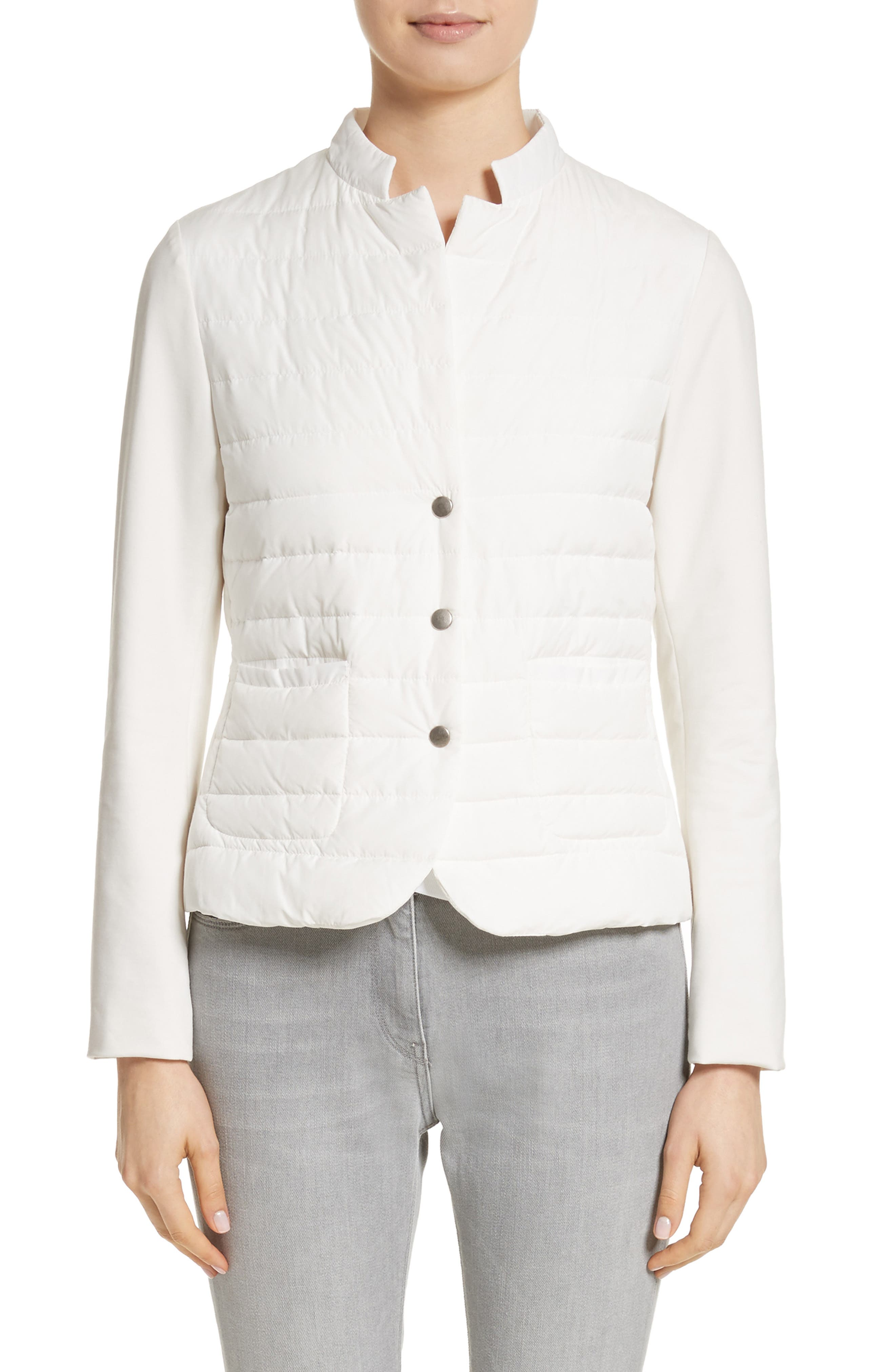 Rodier Jersey Puffer Front Jacket,                         Main,                         color, Pure White