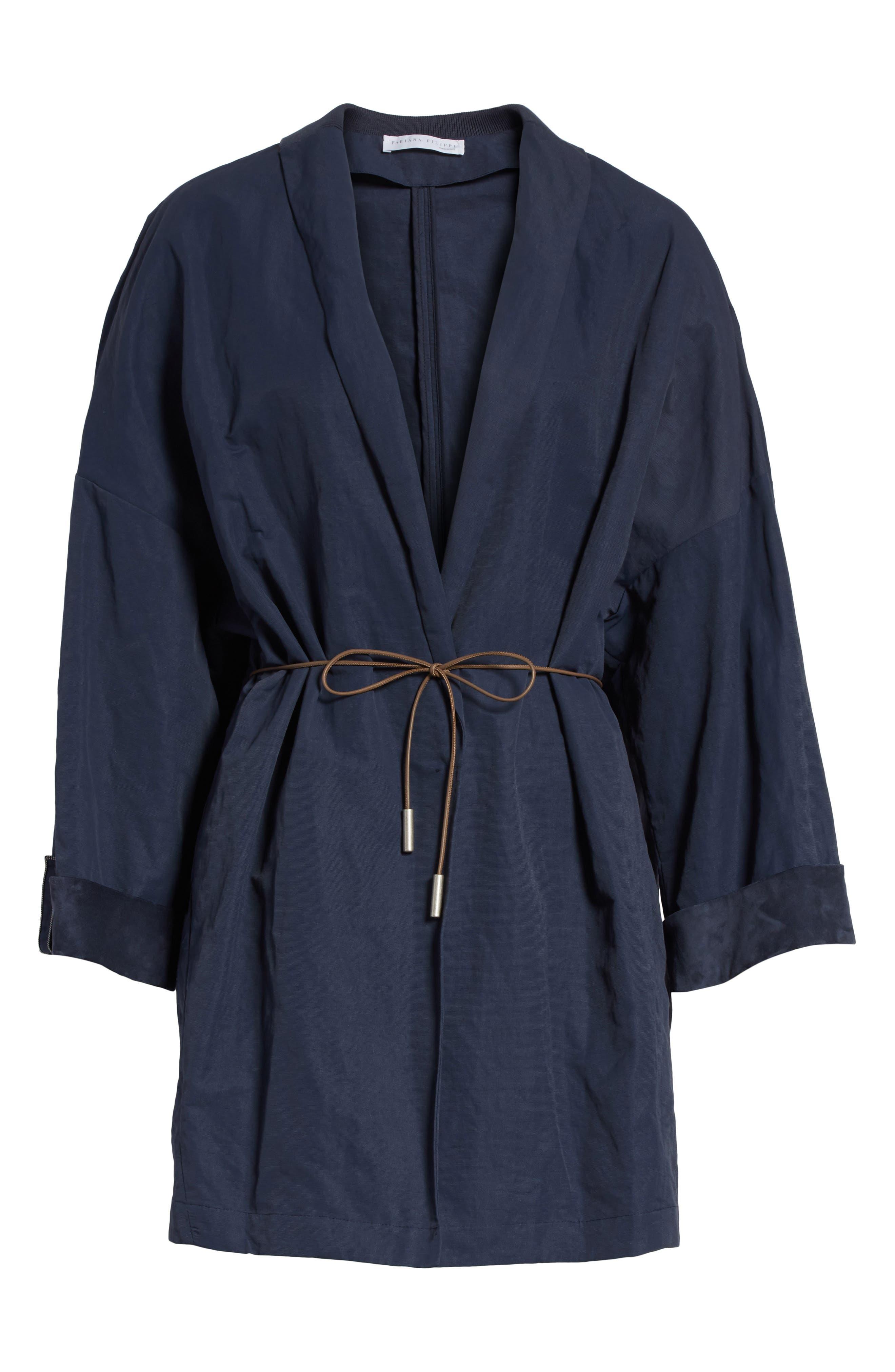 Suede & Cotton Blend Kimono Jacket,                             Alternate thumbnail 7, color,                             Navy