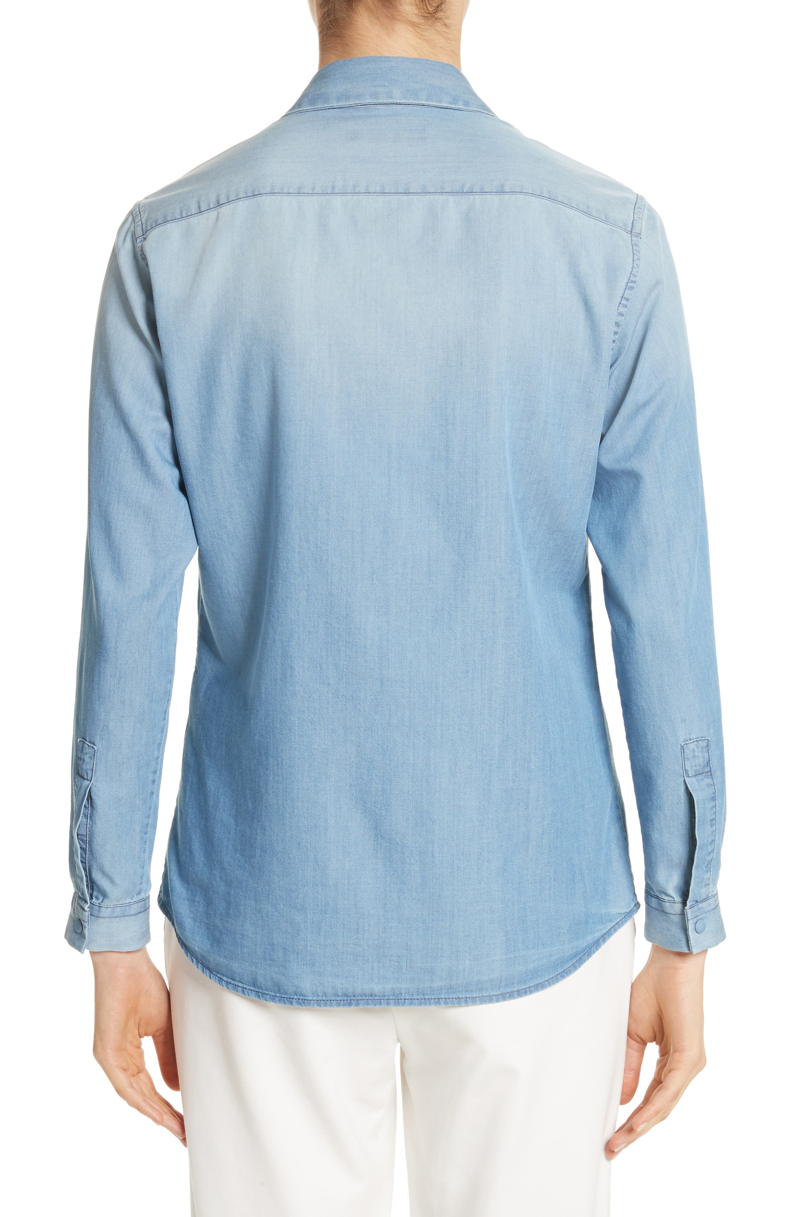 Cotton & Cashmere Chambray Blouse,                             Alternate thumbnail 2, color,                             Denim Blue