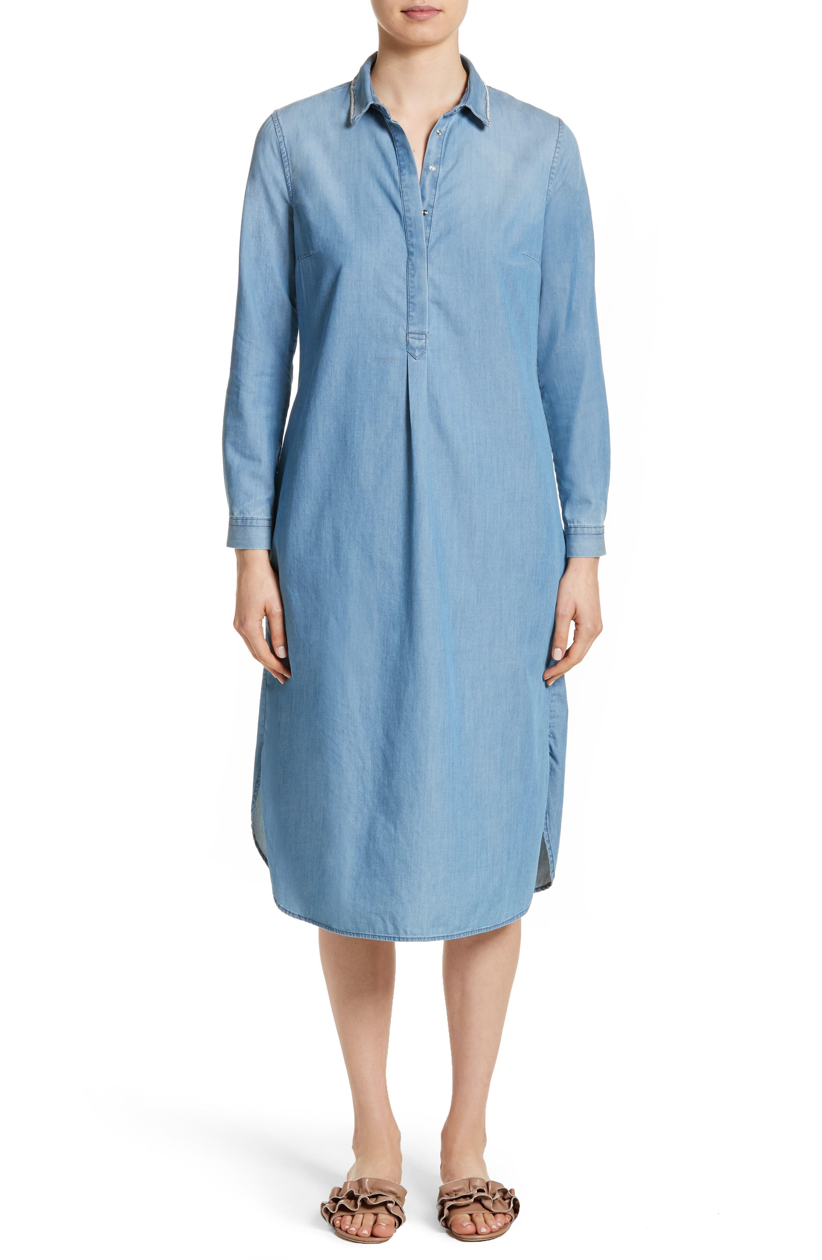 Cotton & Cashmere Chambray Shirtdress,                             Main thumbnail 1, color,                             Denim Blue