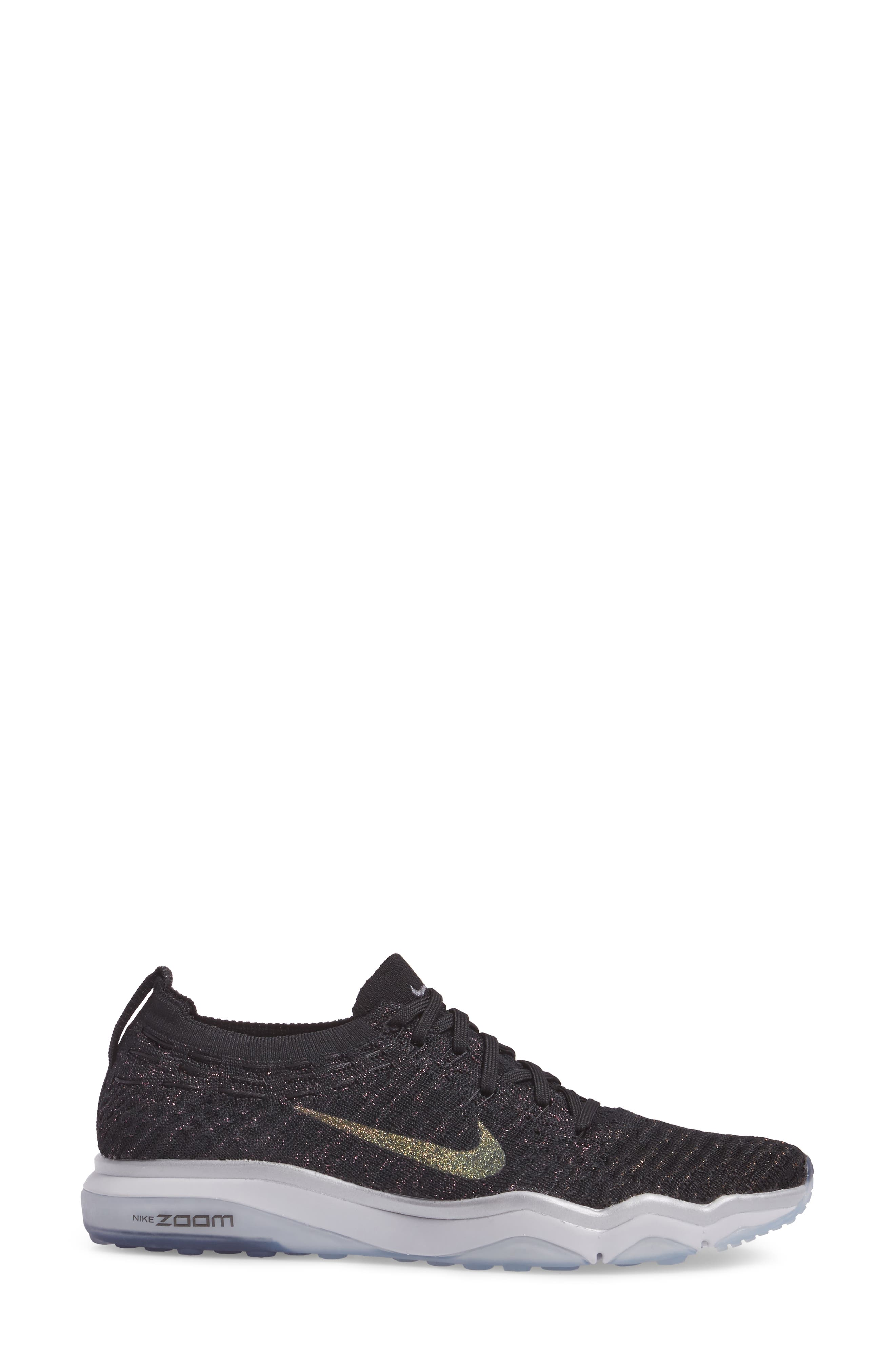 Air Zoom Fearless Flyknit Metallic Training Shoe,                             Alternate thumbnail 3, color,                             Black/ Dark Grey/ Silver